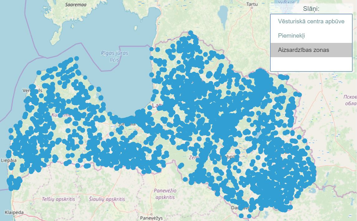 Kultūars pieminekļu aizsardzības zonu karte