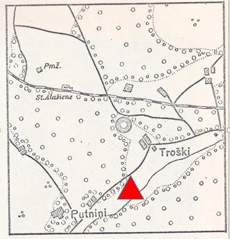 Atašienes pilskalna novietojums E. Brastiņa publicētajā kartē un patiesā pilskalna atrašanās vieta (iezīmēta E. Brastiņa kartē ar sarkanu trīsstūri).