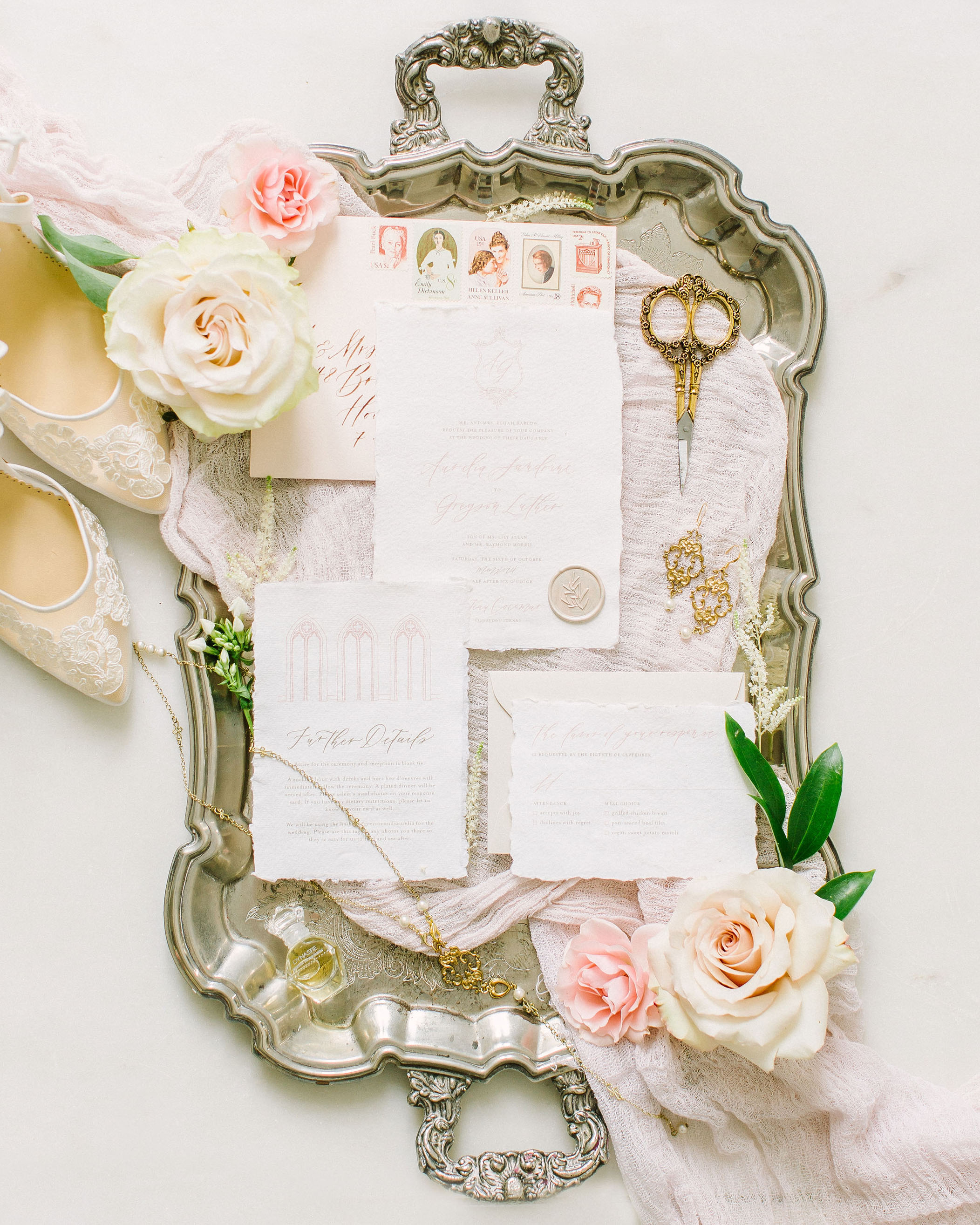 Fine Art Wedding Invitations and Calligraphy by Caitlin O'Bryant Design. Photo by Kate Elizabeth Photography.