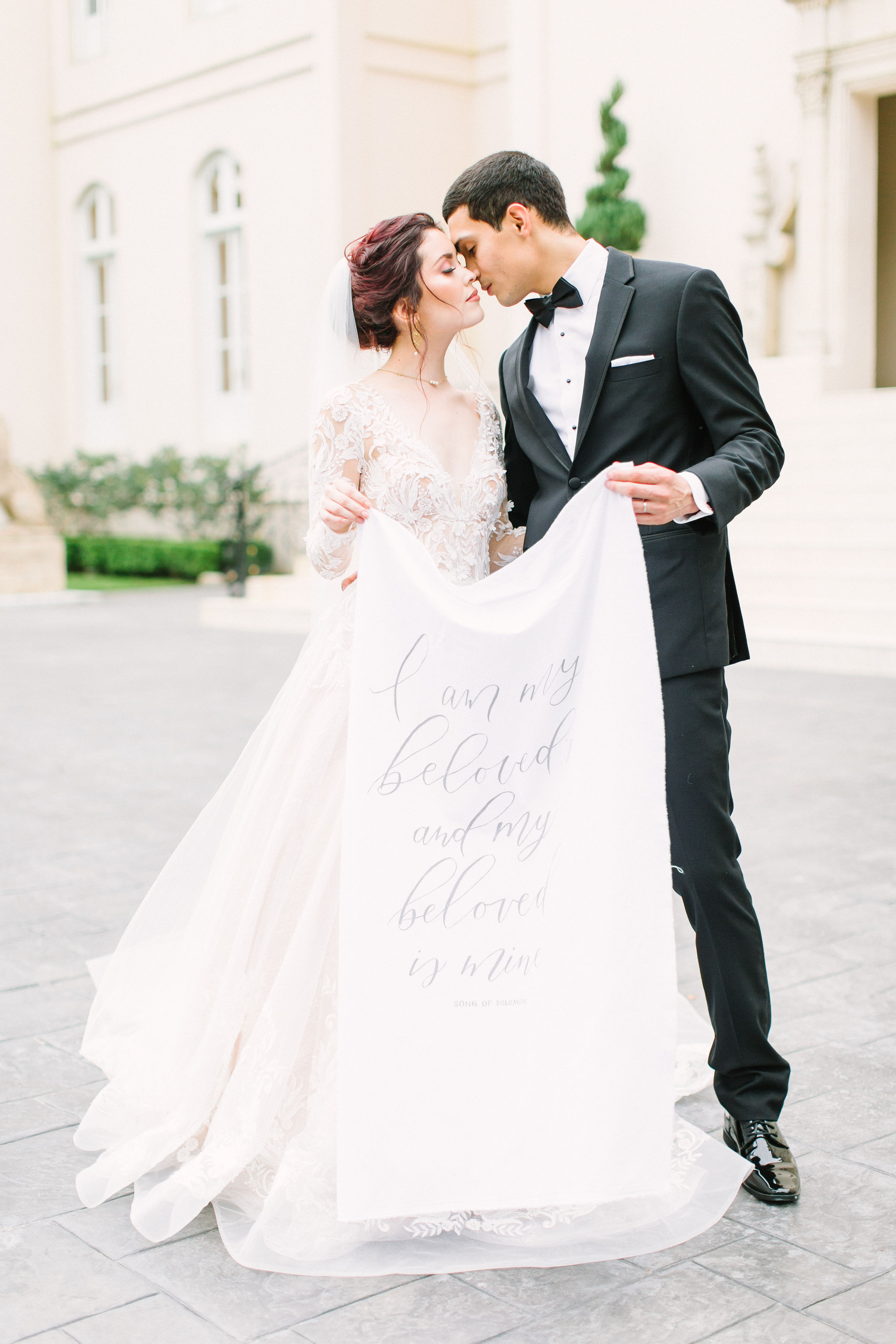 Fine Art Wedding Fabric Banner Calligraphy by Caitlin O'Bryant Design. Photo by Kate Elizabeth Photography.