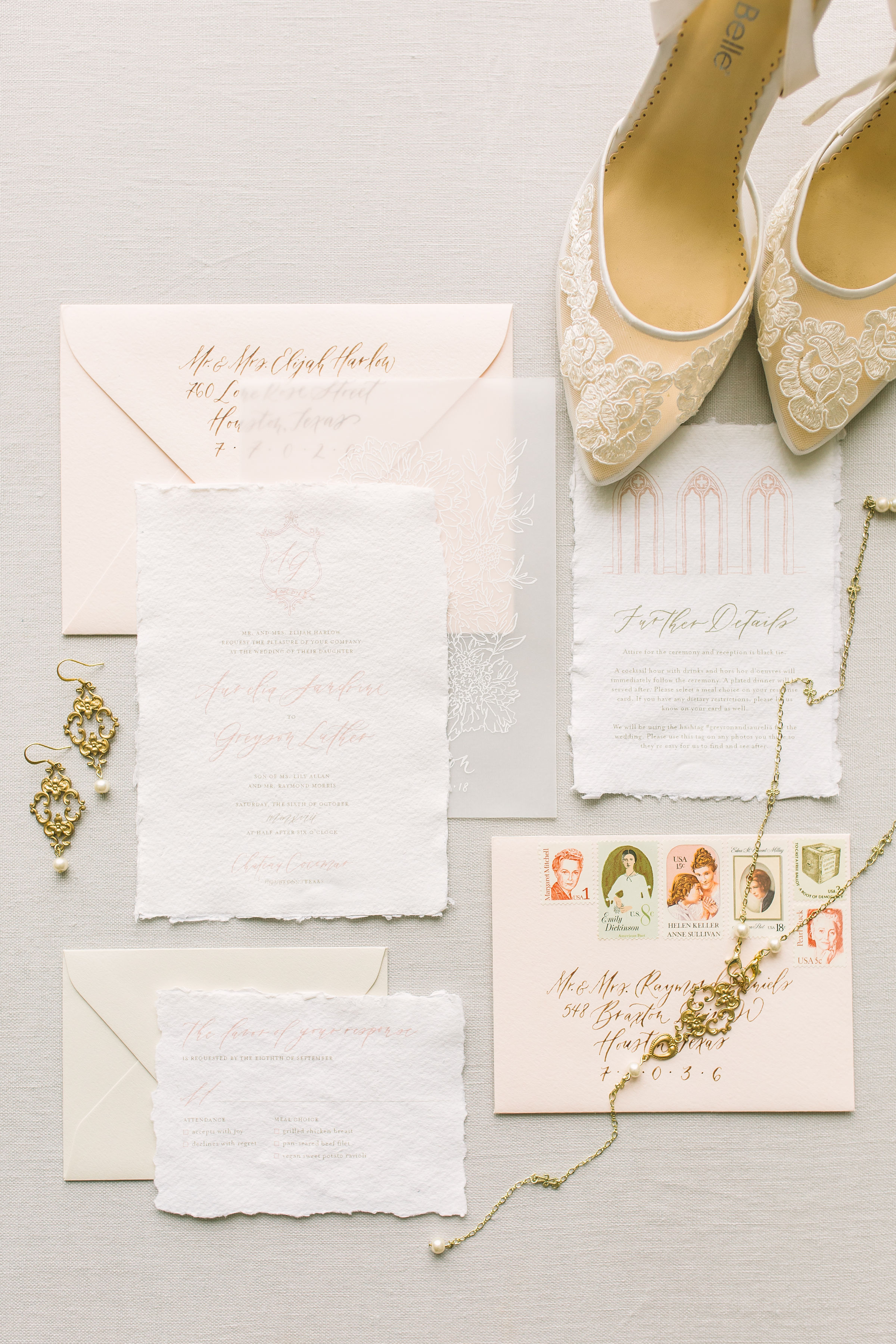 Fine Art Custom Wedding Invitations and Calligraphy by Caitlin O'Bryant Design. Photo by Kate Elizabeth Photography.