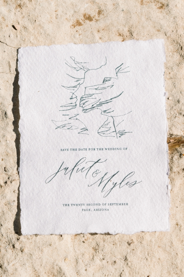 Handwritten Custom Calligraphy Save the Dates by Caitlin O'Bryant Design. Photo by Jordyn Vixie Photography. Boho-chic, down to earth, dark and moody, ethereal calligraphy, warm