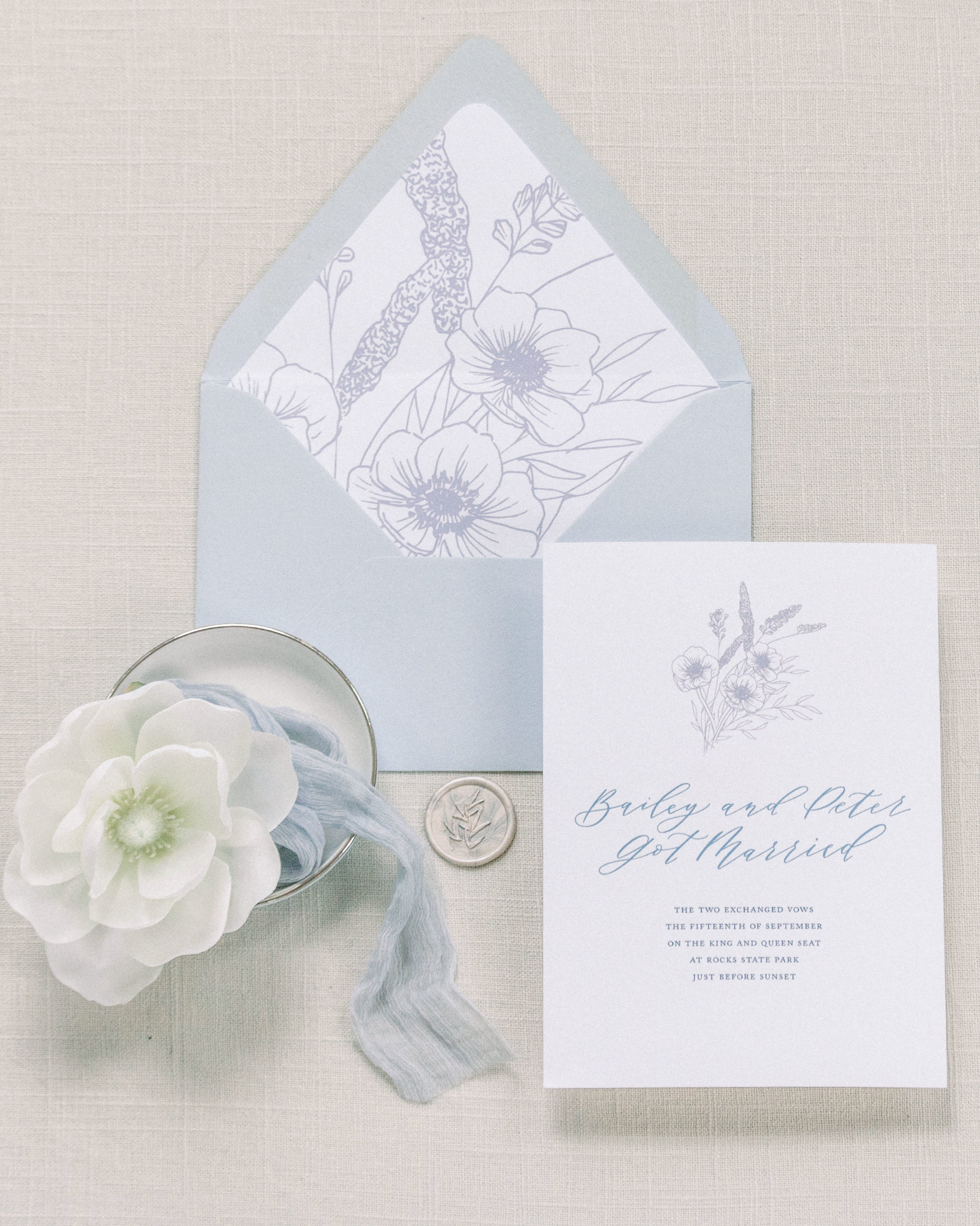 Something Blue City Hall Elopement. Stationery by Caitlin O'Bryant Design. Photography by Savannah Jane Design. Florals: Little House of Flowers. Hair and Makeup: Amanda Merrell Beauty. Venue: Baltimore City Hall. Models: Ronald Vu and Allison Harle.