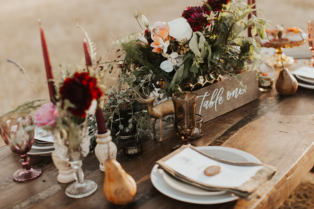 Rustic and earthy harvest moon central Oregon wedding vow renewal. Photography: Michelle Breiter Photography. Planning + Coordination: A Little Grace A Little Lace. Venue: Wine Down Ranch. Calligraphy + Stationery: Caitlin O'Bryant Design. Desserts: The Crumb Cakery. Jewelry: Saressa Designs. Rentals: Curated Event Rentals. Gown: The Bespoke Bride. Officiant: Chris Lewis. Bride + Groom: Kirstyn and Adam Beyer. Florals: Le Petit Flower Shop. MUAH: Tiffany Randolph. Assistant Coordination: Firefly Events