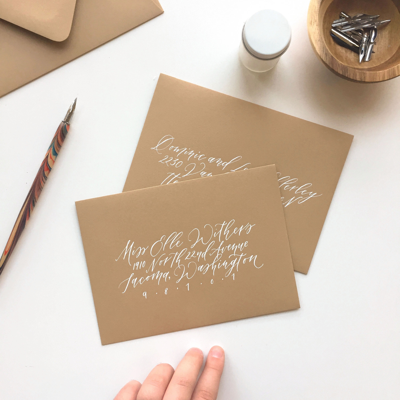 Envelope calligraphy addressing by Caitlin O'Bryant Design
