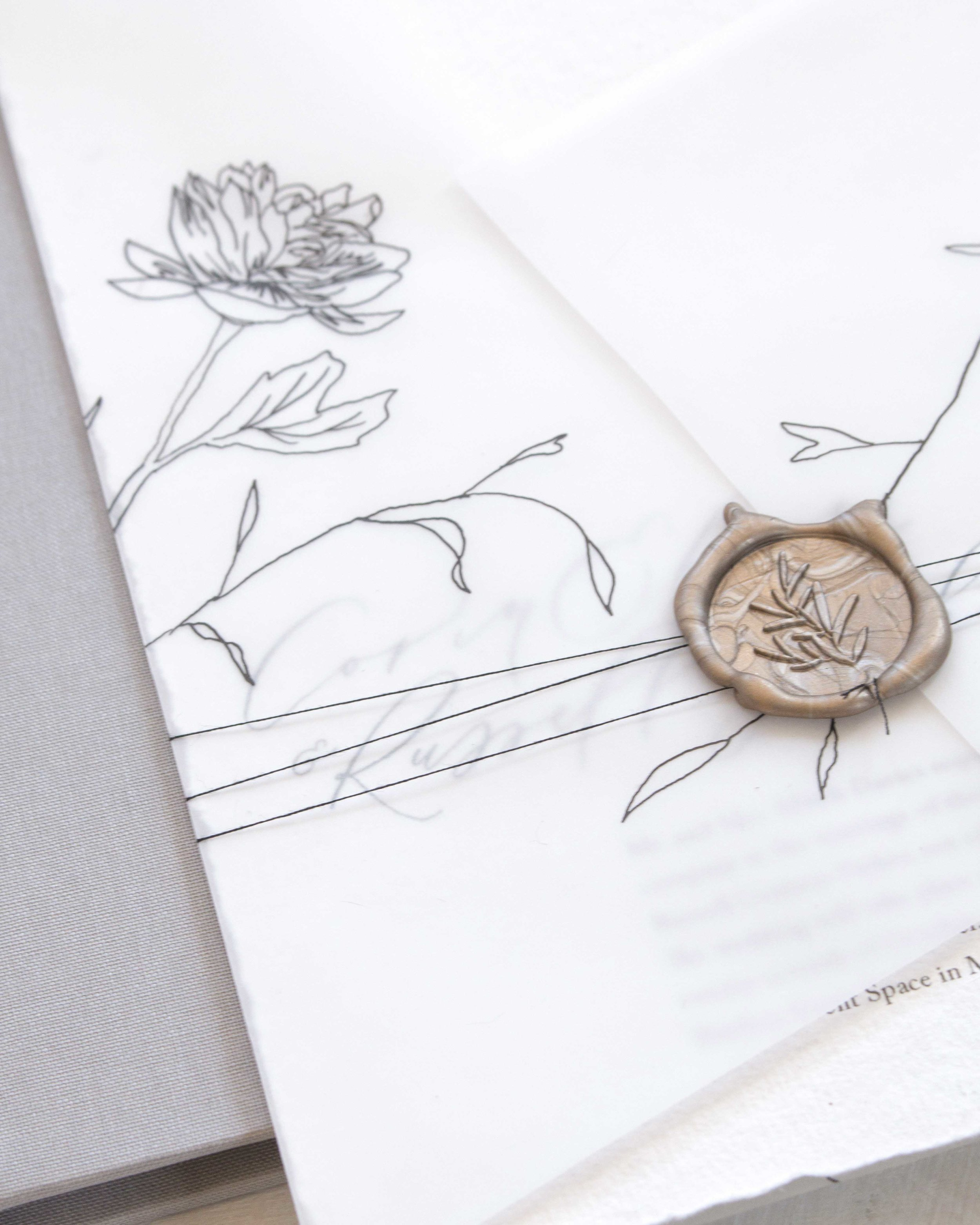 Ribbon, Twine, and Vellum Wraps for bespoke wedding stationery by Caitlin O'Bryant Design