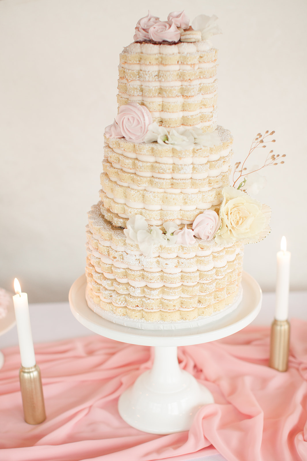 Romantic fine art wedding cake, inspired by the poise and movement of ballet, by Next Door Desserts. Calligraphy and Stationery by Caitlin O'Bryant Design. Photo: Kelby Maria Photography. Planning: Peachy Keen Coordination