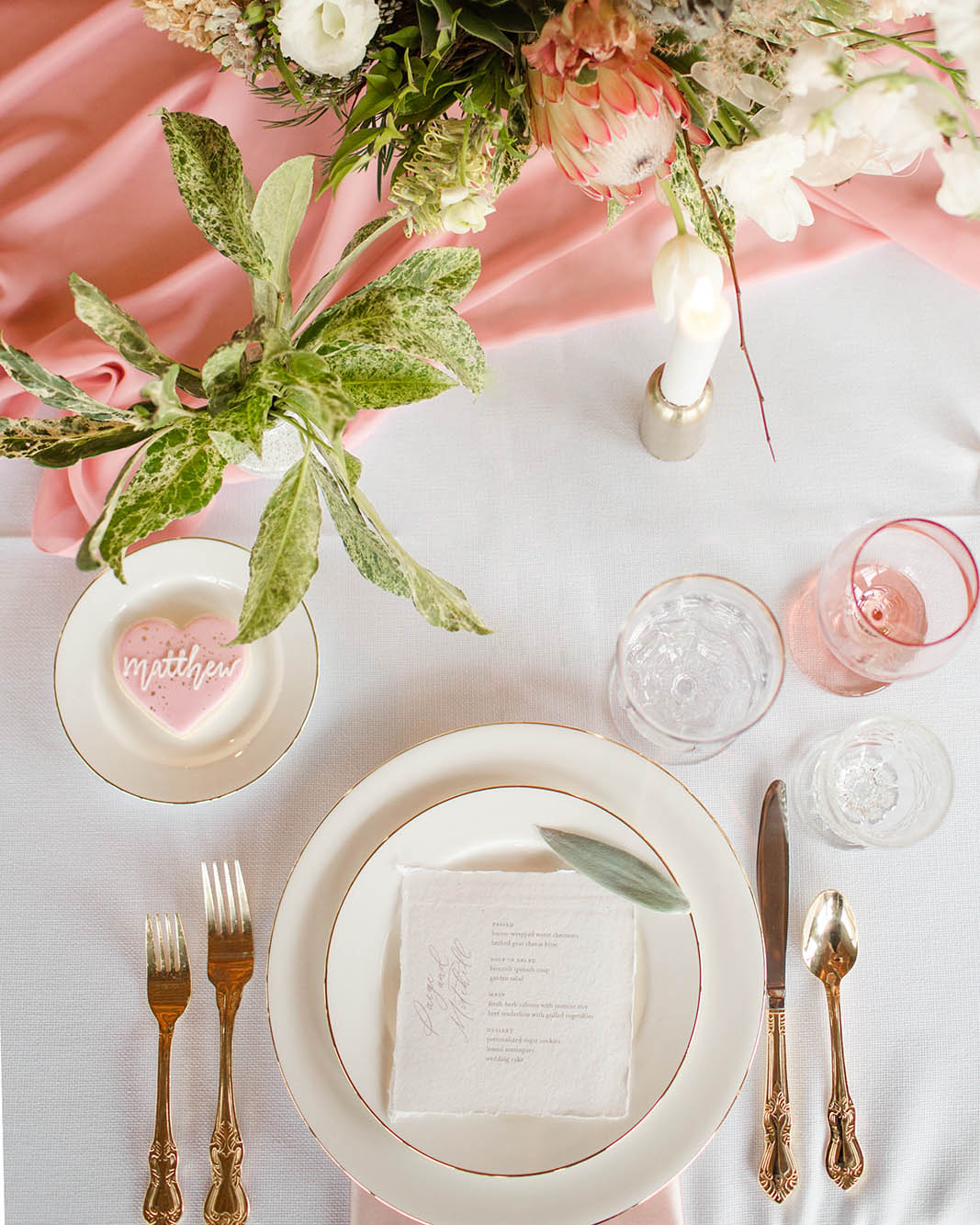 Romantic fine art wedding stationery, inspired by the poise and movement of ballet. Calligraphy and Stationery by Caitlin O'Bryant Design. Photo: Kelby Maria Photography. Planning: Peachy Keen Coordination. Rentals: Bridgewood Event Co. Cookies: Love Hope Cookies. Florals: Revel Petals.
