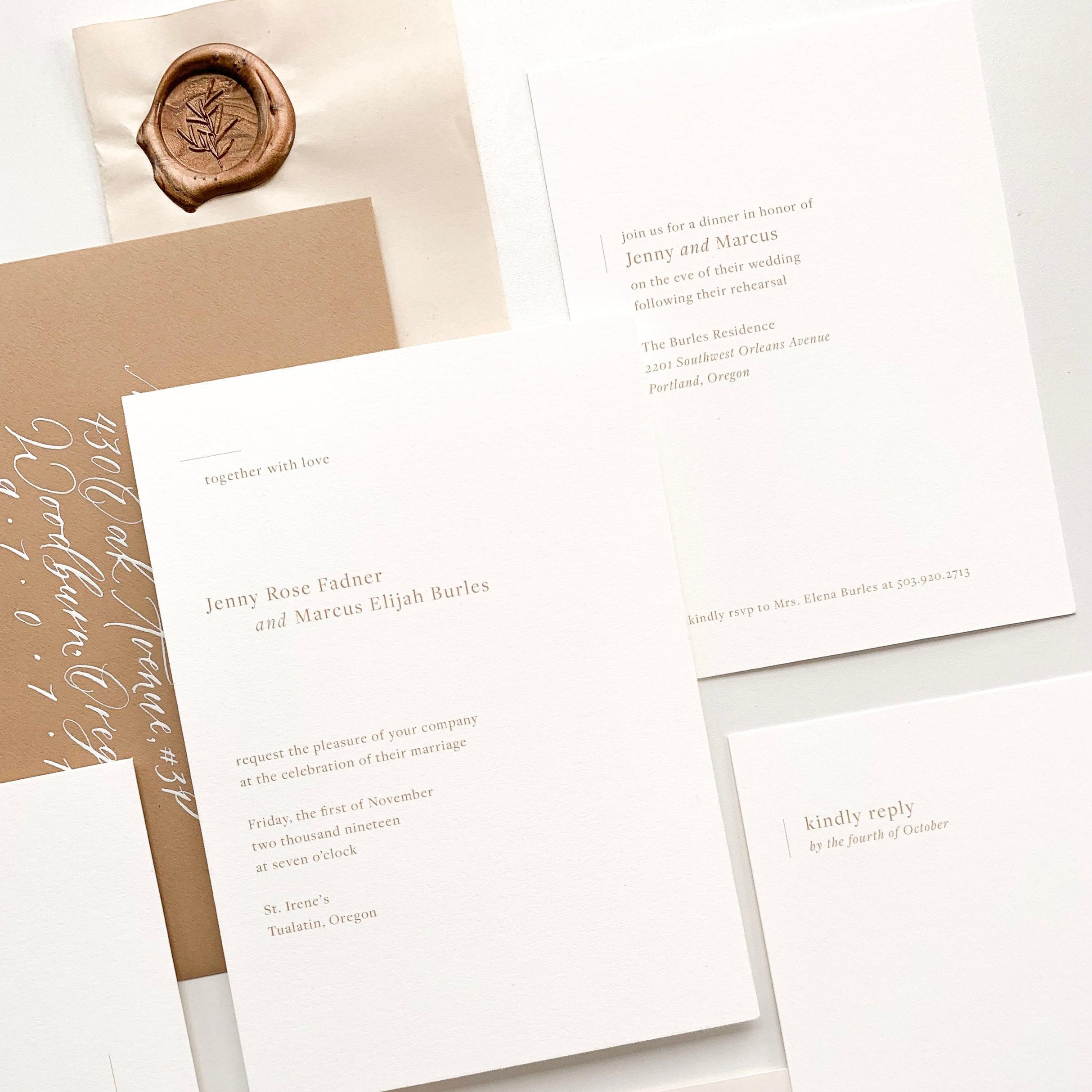 Laurel Semi-Custom Wedding Invitation by Caitlin O'Bryant Design.