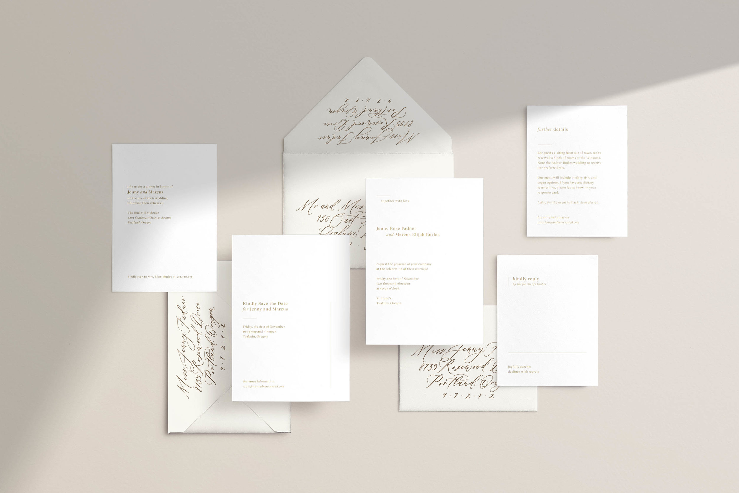 Minimalistic modern wedding invitations by Caitlin O'Bryant Design.