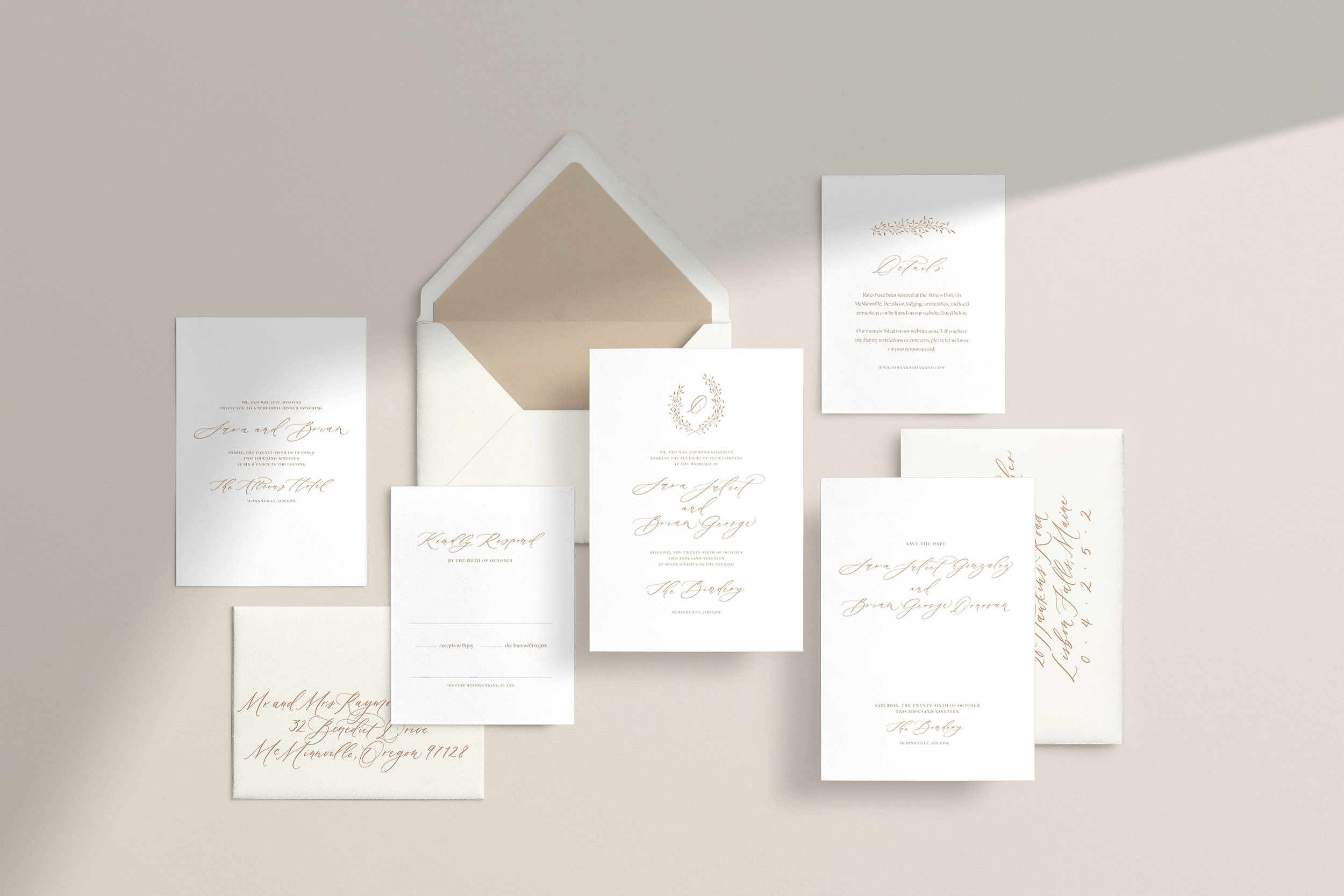 Classic and elegant wedding invitation design by Caitlin O'Bryant Design.