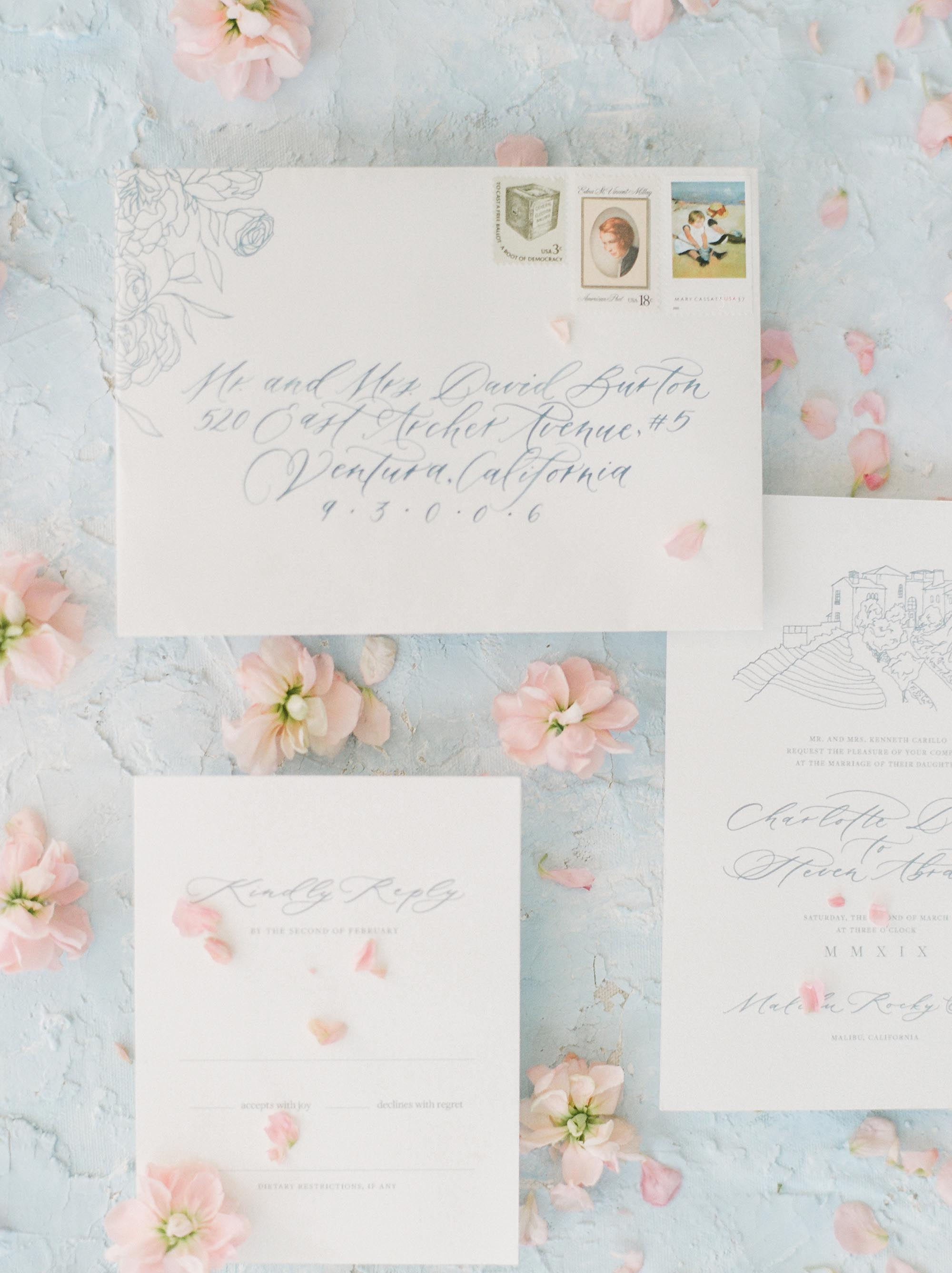 Romantic and light custom wedding stationery for spring Malibu wedding. Floral illustrations, venue illustrations, and calligraphy. Invitations by Caitlin O'Bryant Design. Photo by Julie Paisley.
