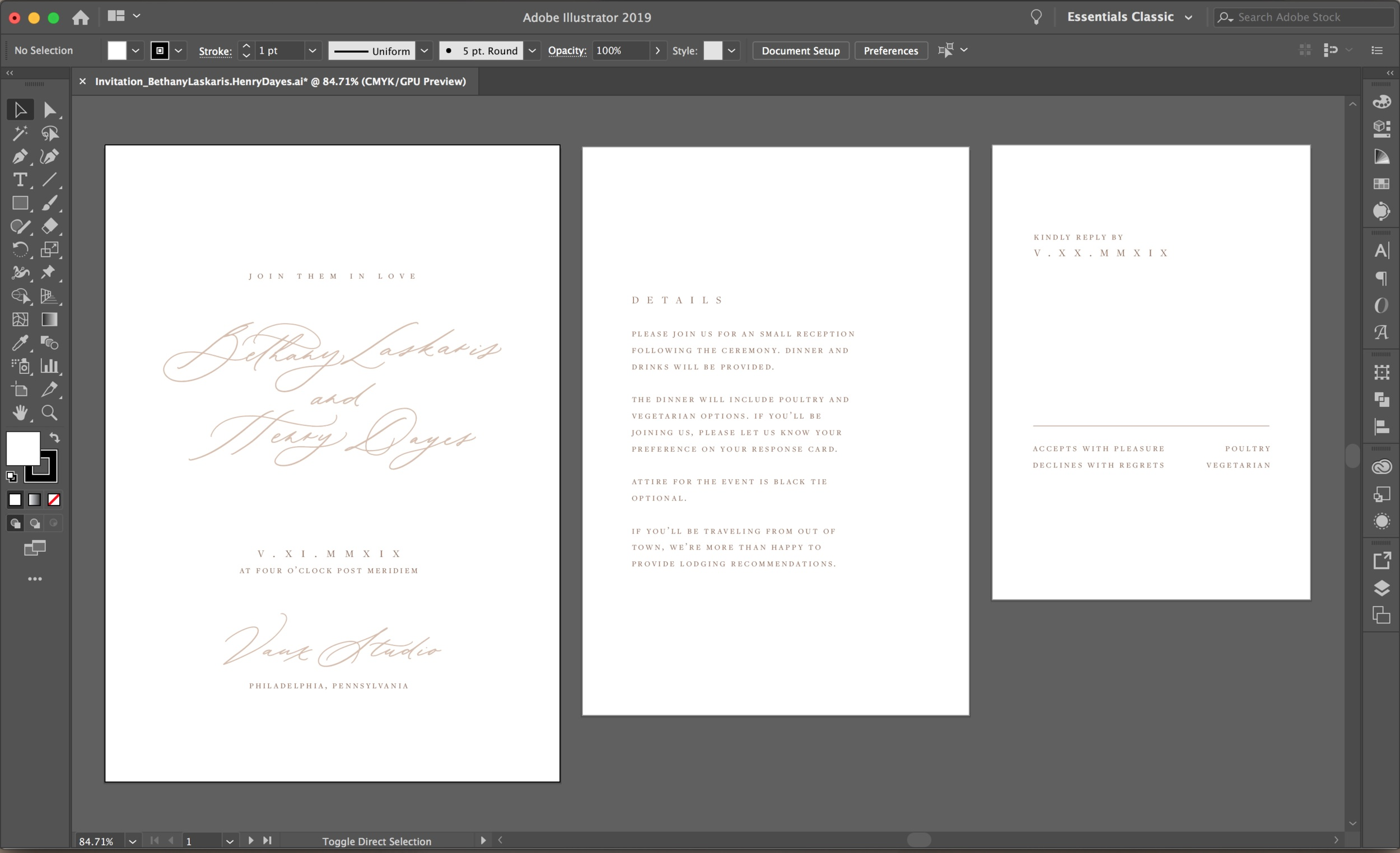 Our illustrator file of the polished invitation suite.