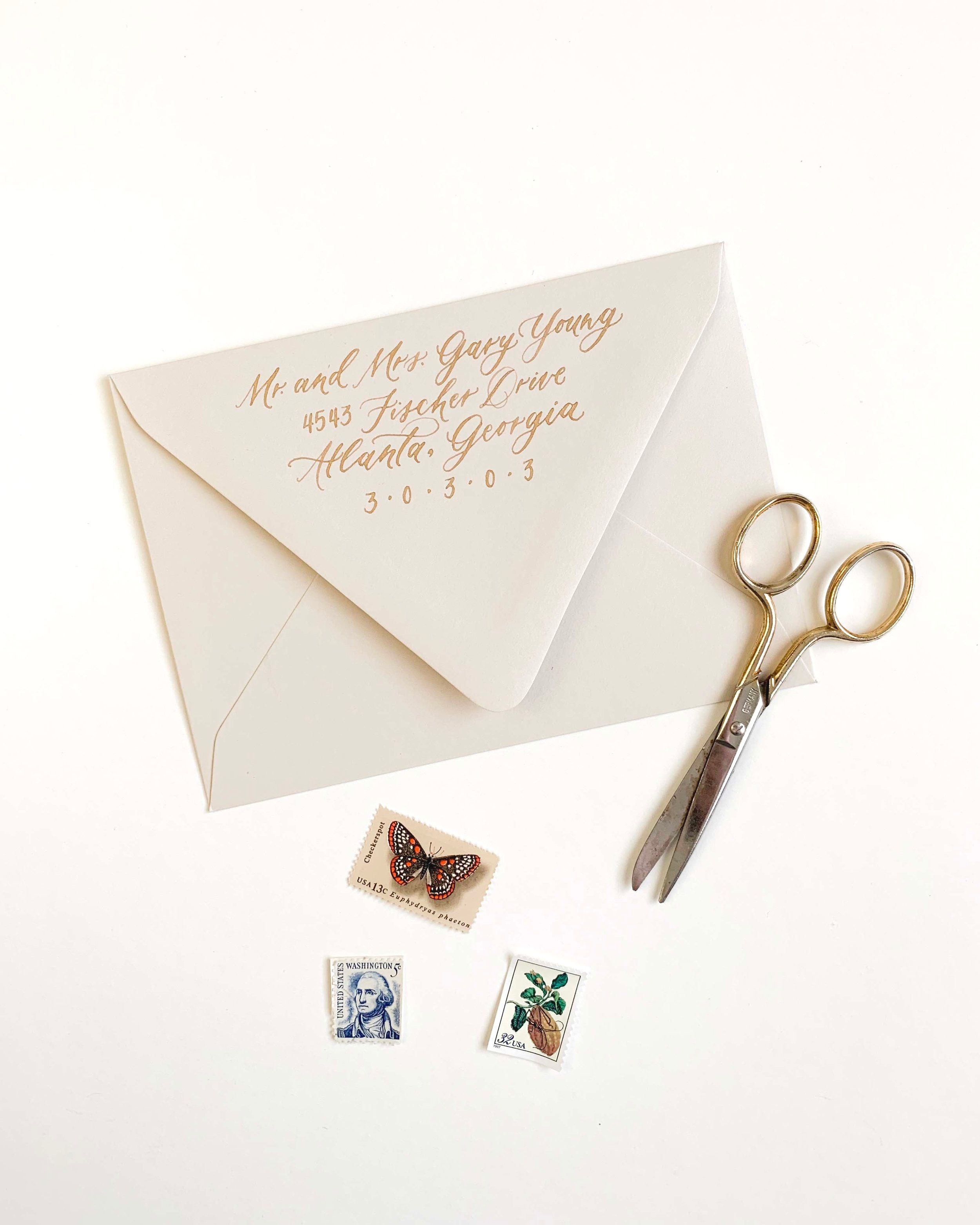 Fine Art Calligraphy Envelope Addressing for Wedding Invitations by Caitlin O'Bryant Design