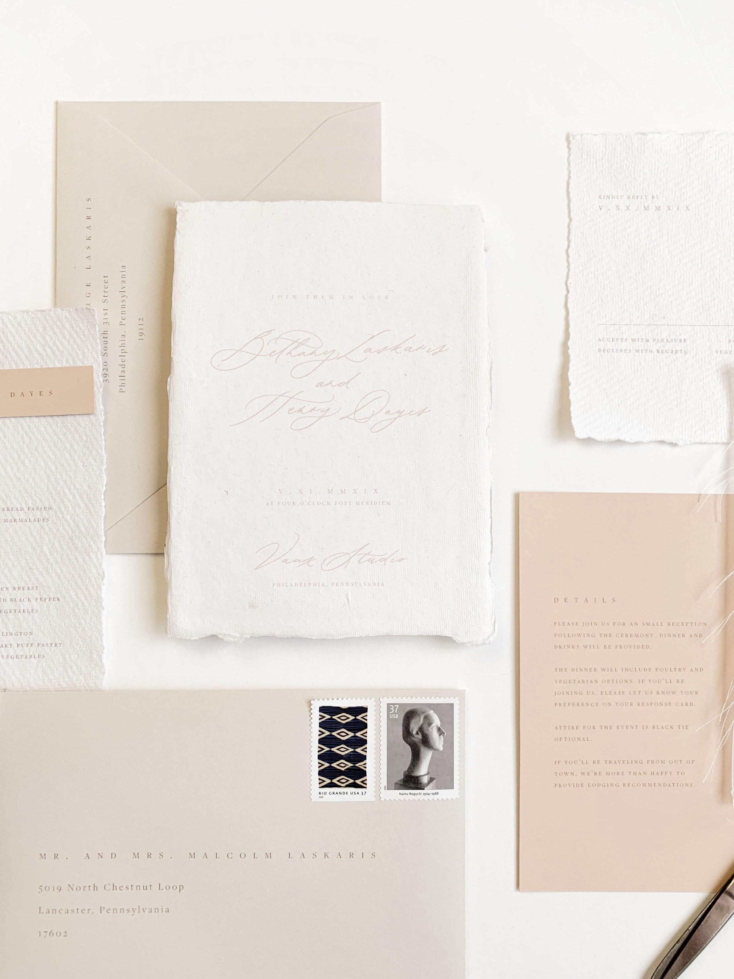 Modern minimalist wedding invitations. Vellum wedding invitations. Calligraphy wedding vintage postage invitations. Wedding invitation suite. Wedding menus. Neutral wedding invitations. Peach wedding invitations. Coral wedding invitations.