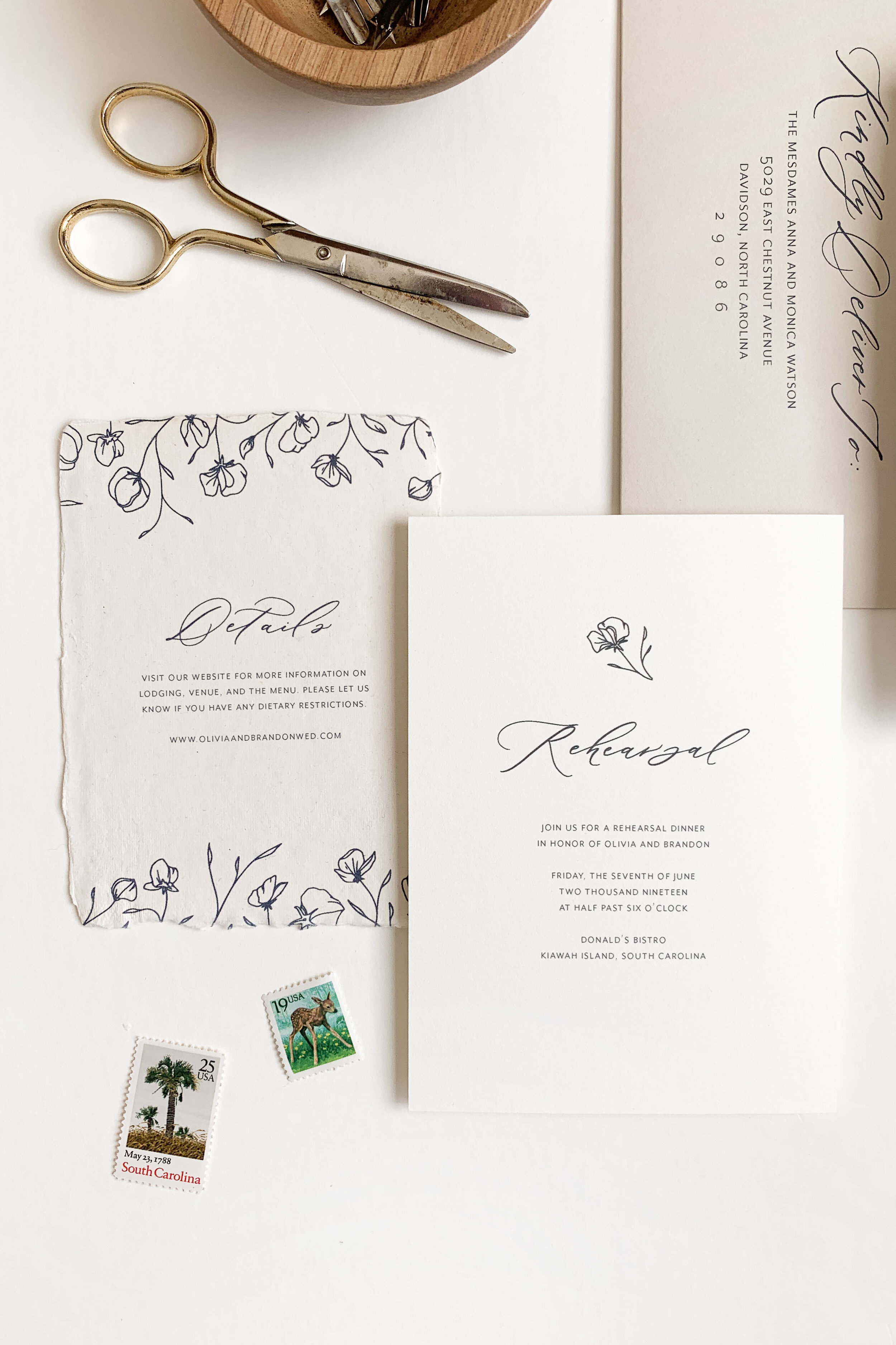 Floral elegant wedding invitations. Navy blue wedding invitations. Sweet pea wedding stationery. Floral calligraphy wedding invitations on handmade paper.