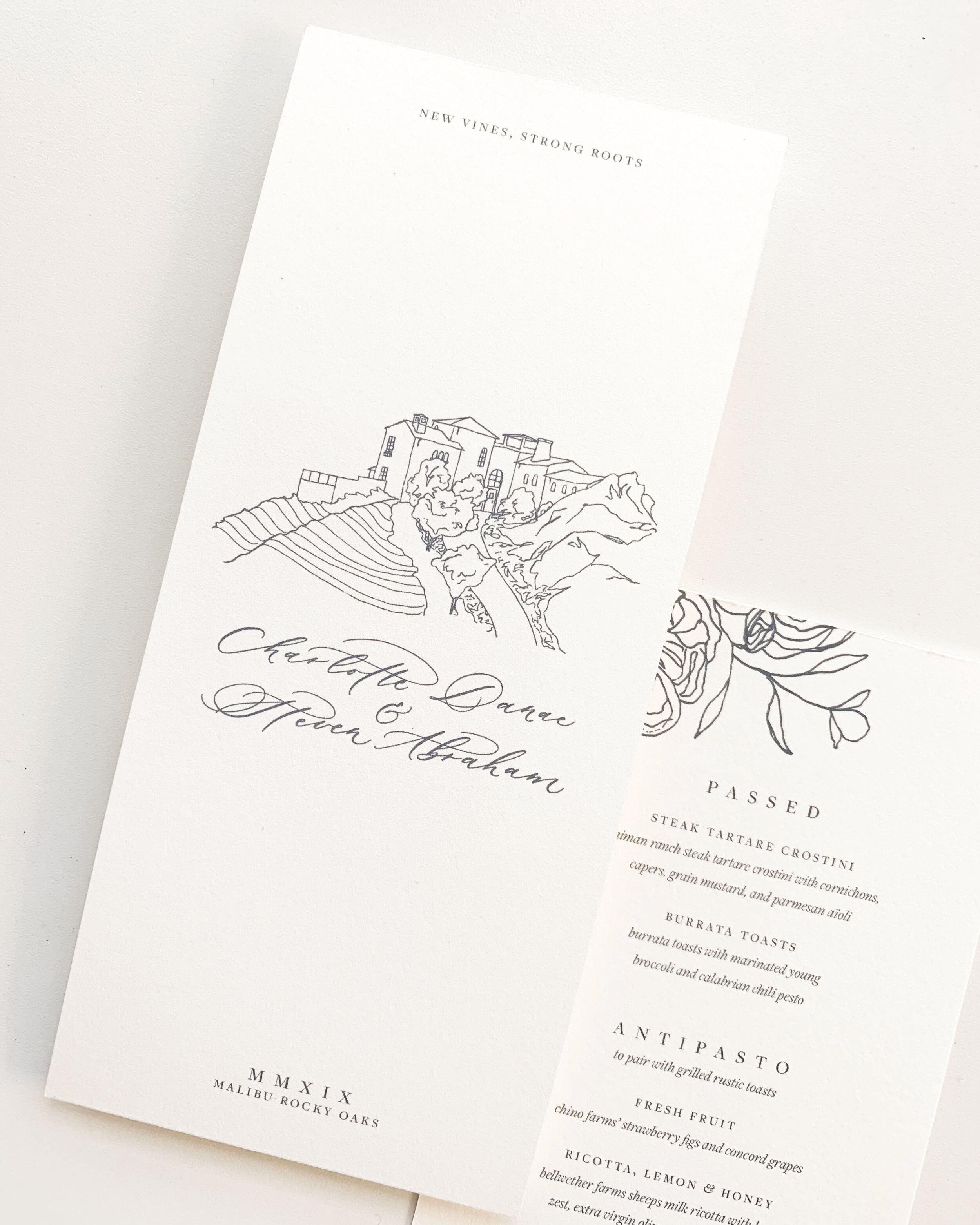 Spring wedding invitations Malibu California. Malibu Rocky Oaks venue illustration wedding invitation. Floral wedding invitation. Blue and cream wedding invitation. Fine art calligraphy blue wedding invitation.