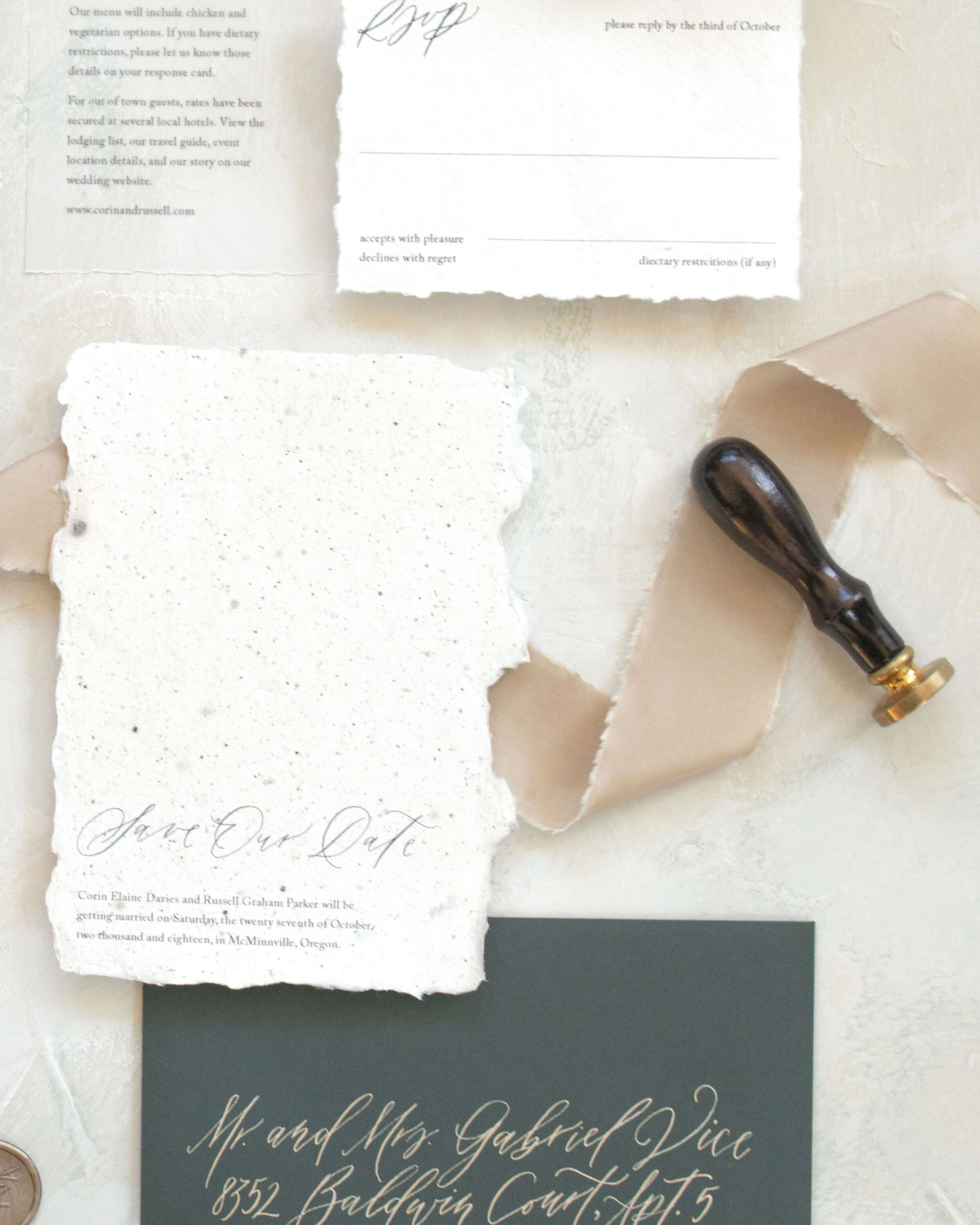 Elegant wedding invitations winter on handmade paper. Calligraphy minimalist wedding invitations. Calligraphy addressing wedding. Handmade paper wax seals vintage postage wedding invitations.