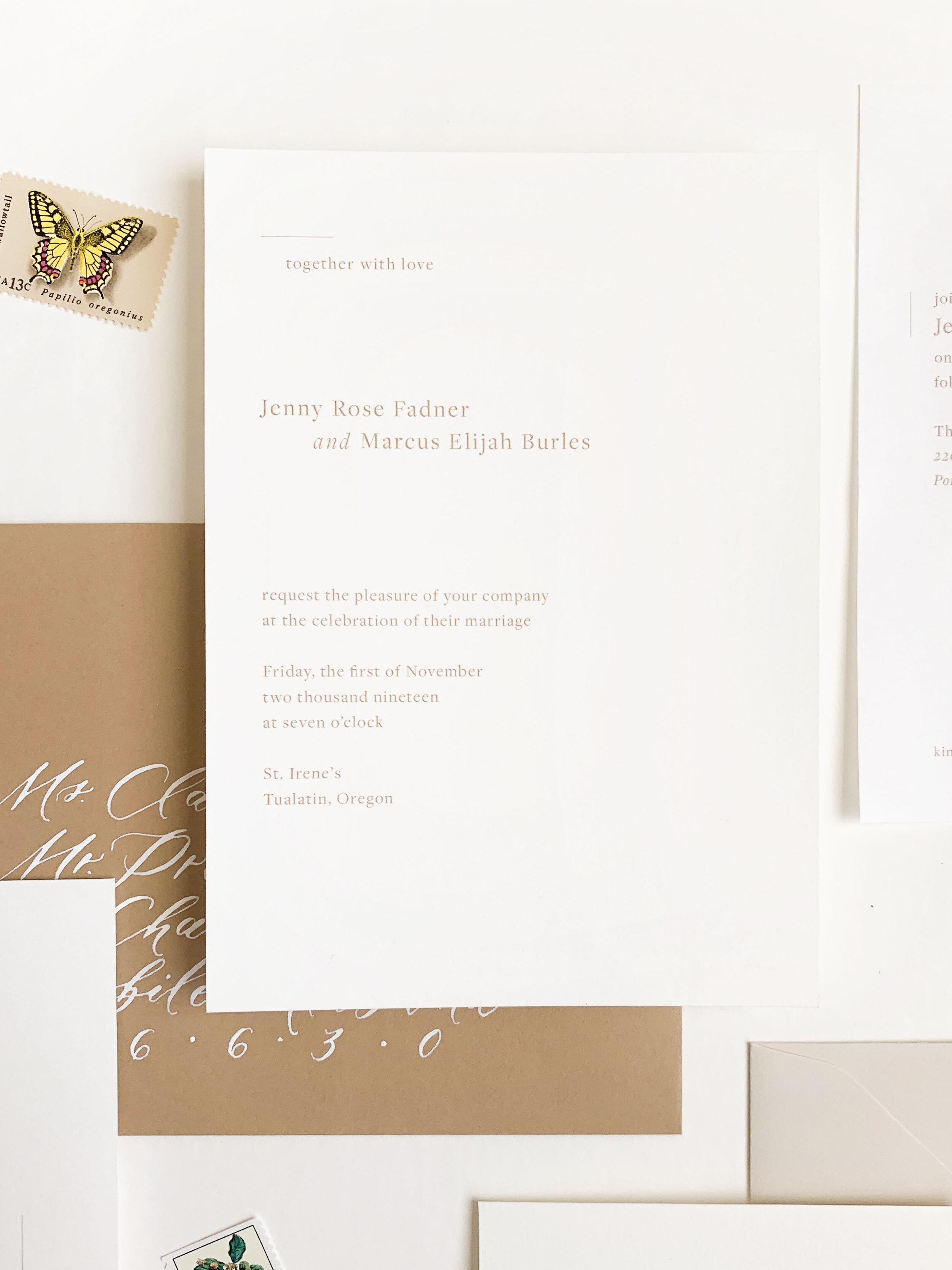 Minimalist refined wedding invitations. Clean and modern wedding invitations. Calligraphy addressing vellum wedding invitations.