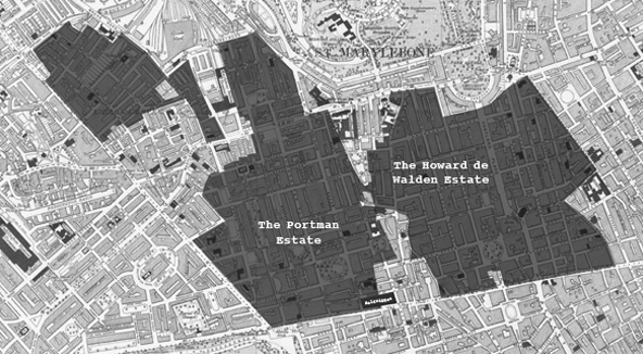 The Portman Estate and The Howard de Walden Estate as they were in 1914.