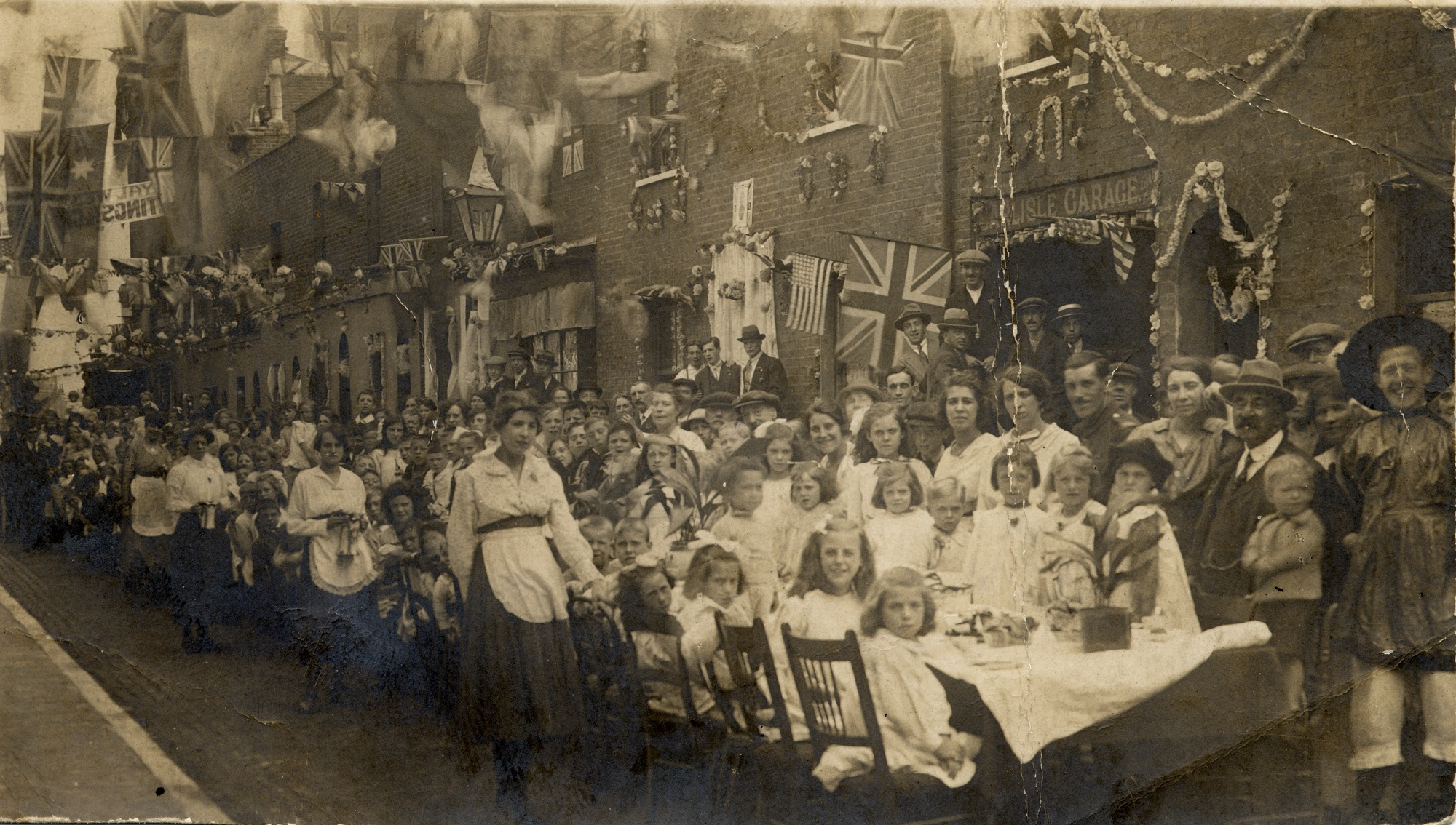 Street party in Penfold Street (formerly Carlisle Street) to celebrate the end of the war in November 1918.
