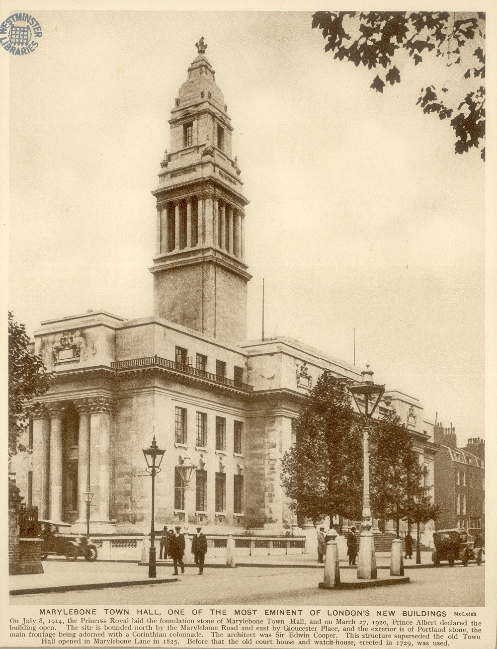 Marylebone Town Hall complete in 1914.