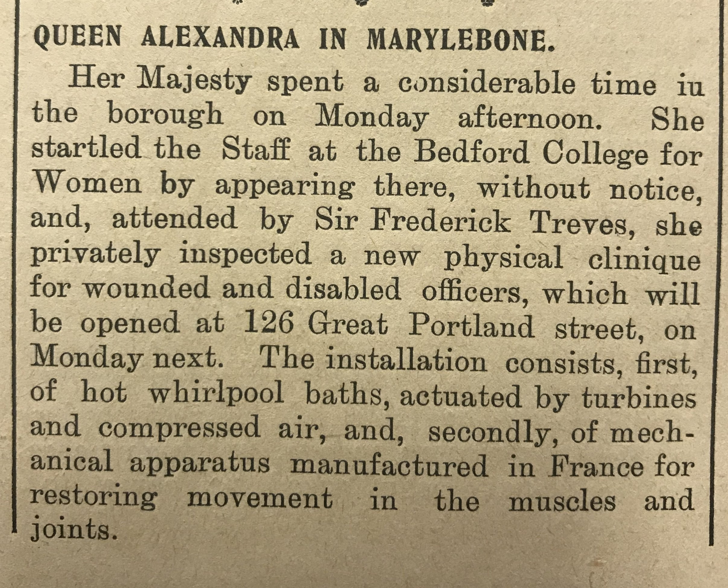 Queen Alexandra's visit and enthusiastic account of the clinic's facilities.