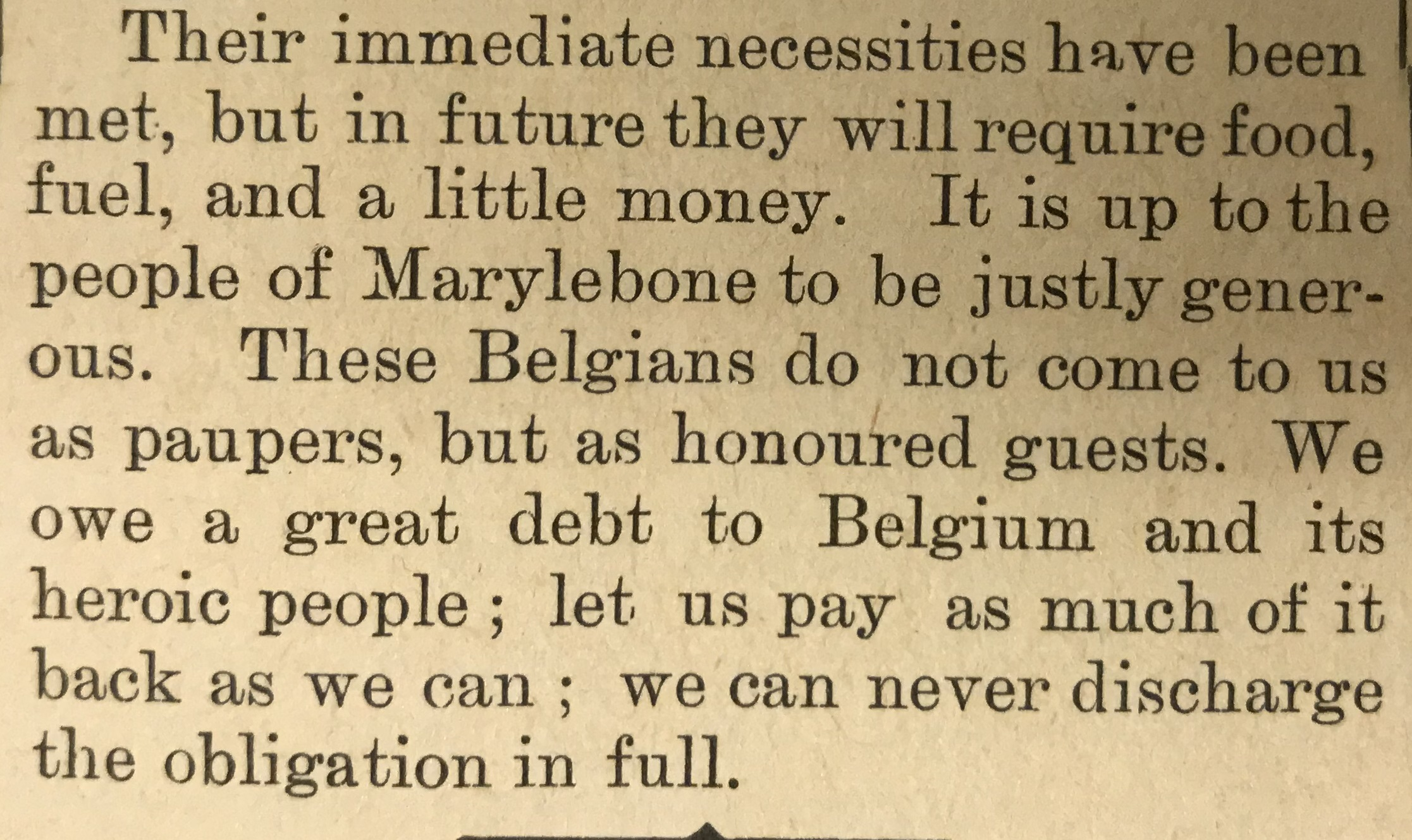 The Marylebone Record commenting on the opening of 82 Crawford Street to refugees.