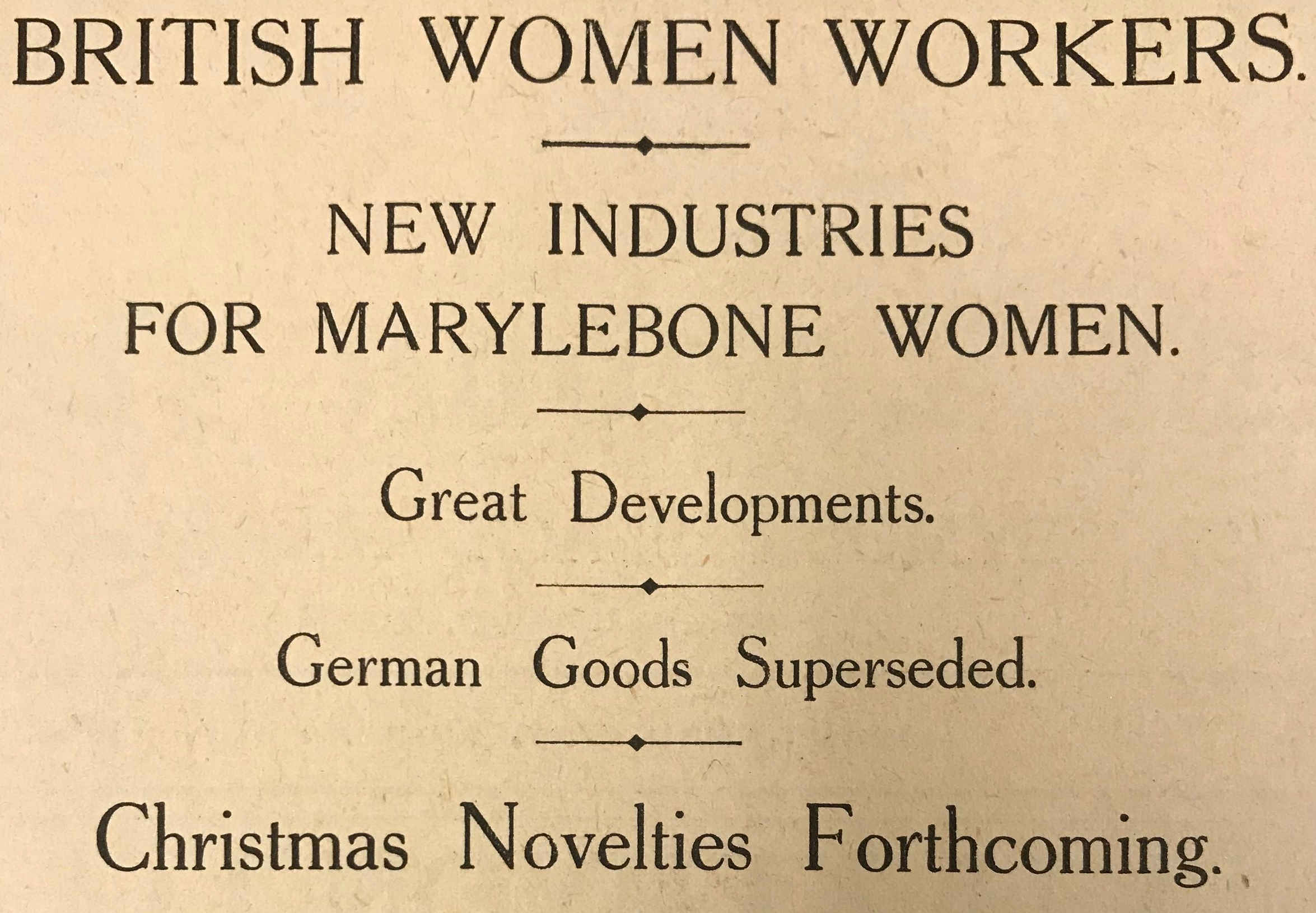 Advertisement from the Marylebone Record.