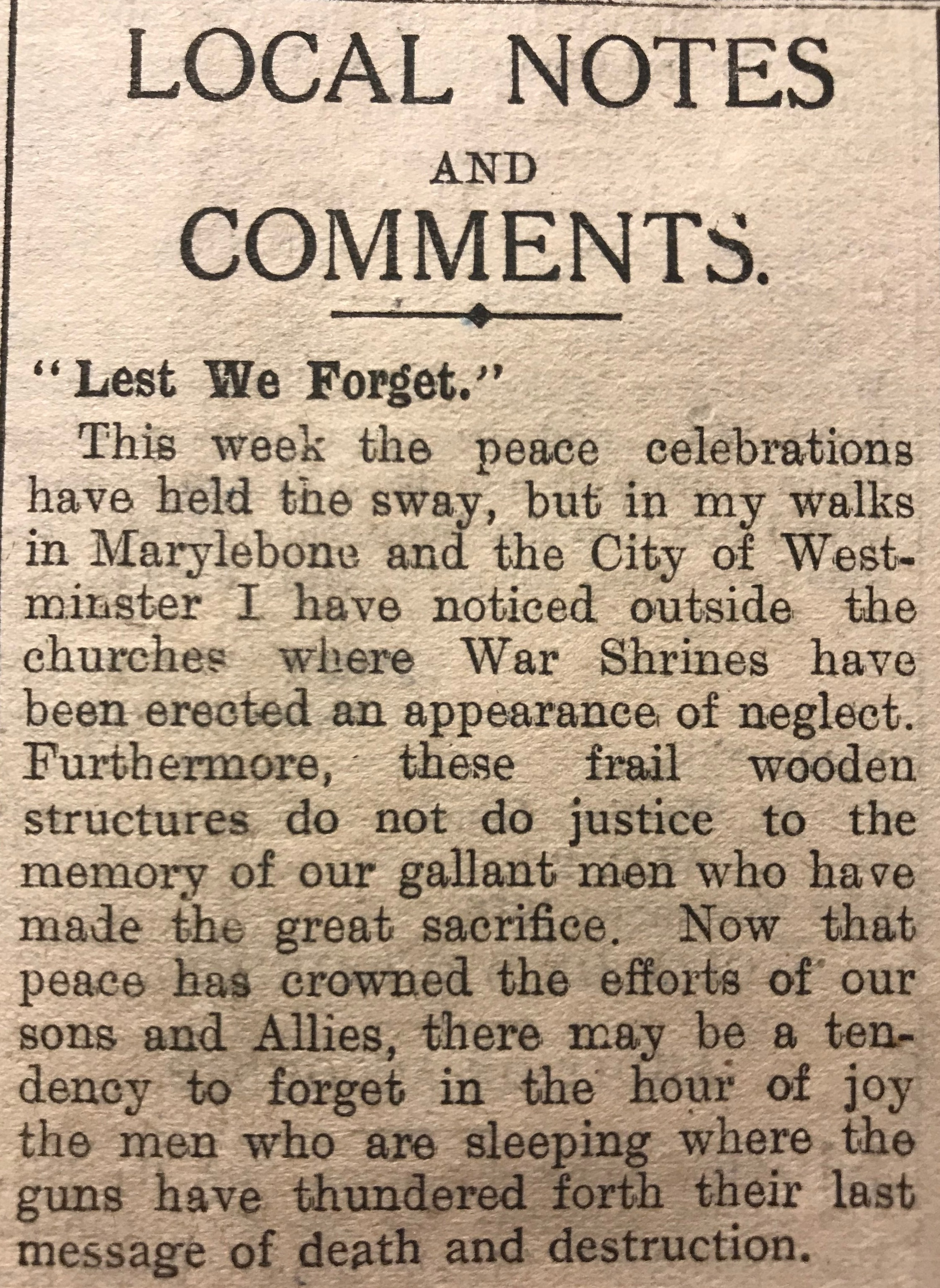 Article from the Marylebone Record regarding newly erected memorials.
