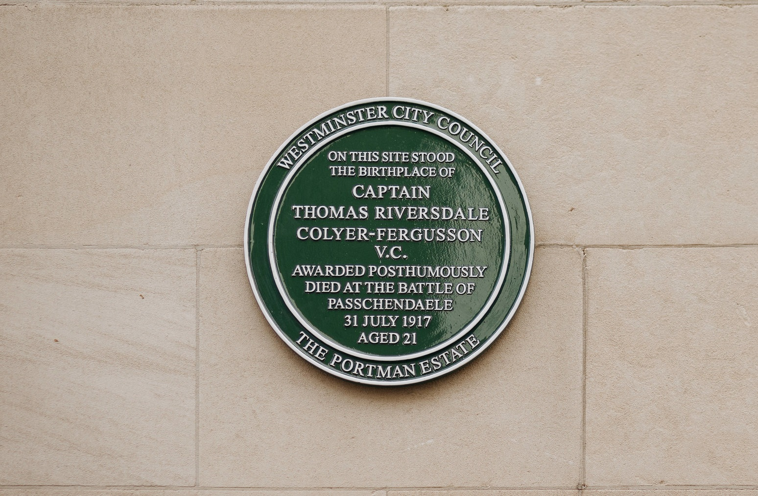 Green plaque to Captain Thomas Riversdale Colyer-Fergusson who was awarded the Victoria Cross after his death at Passchendaele in 1917.