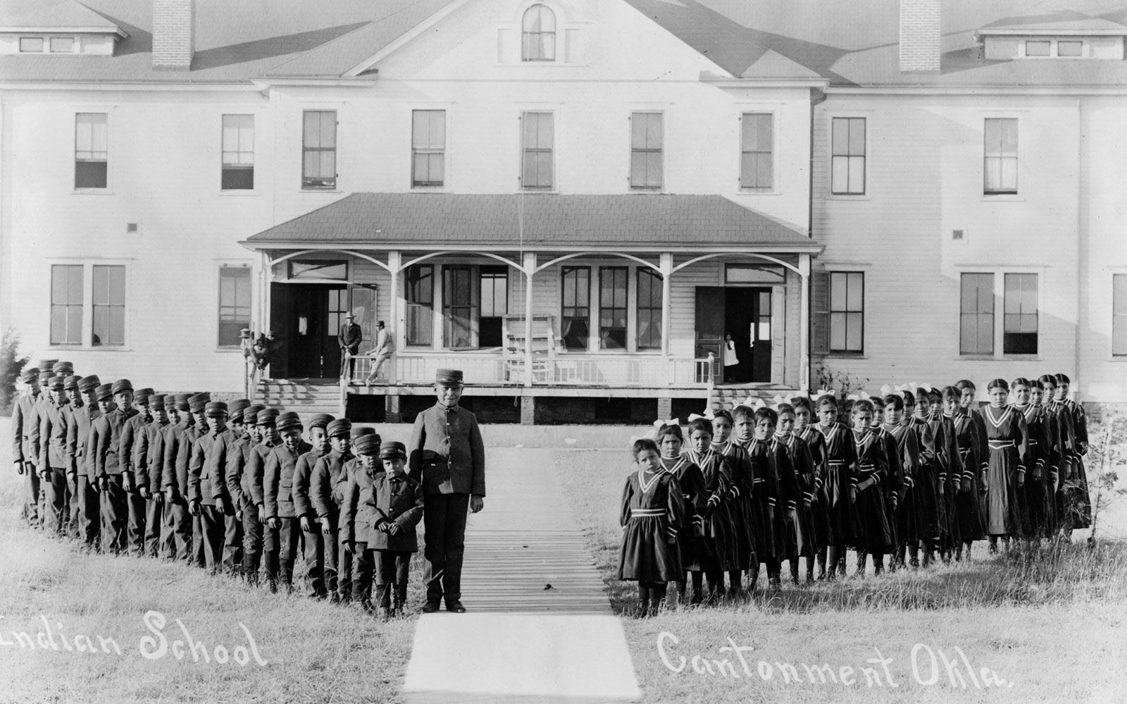 A Mennonite boarding school similar to the one near George's family's settlement. Her great grandmother Mary is not in this photo, but other family members are.