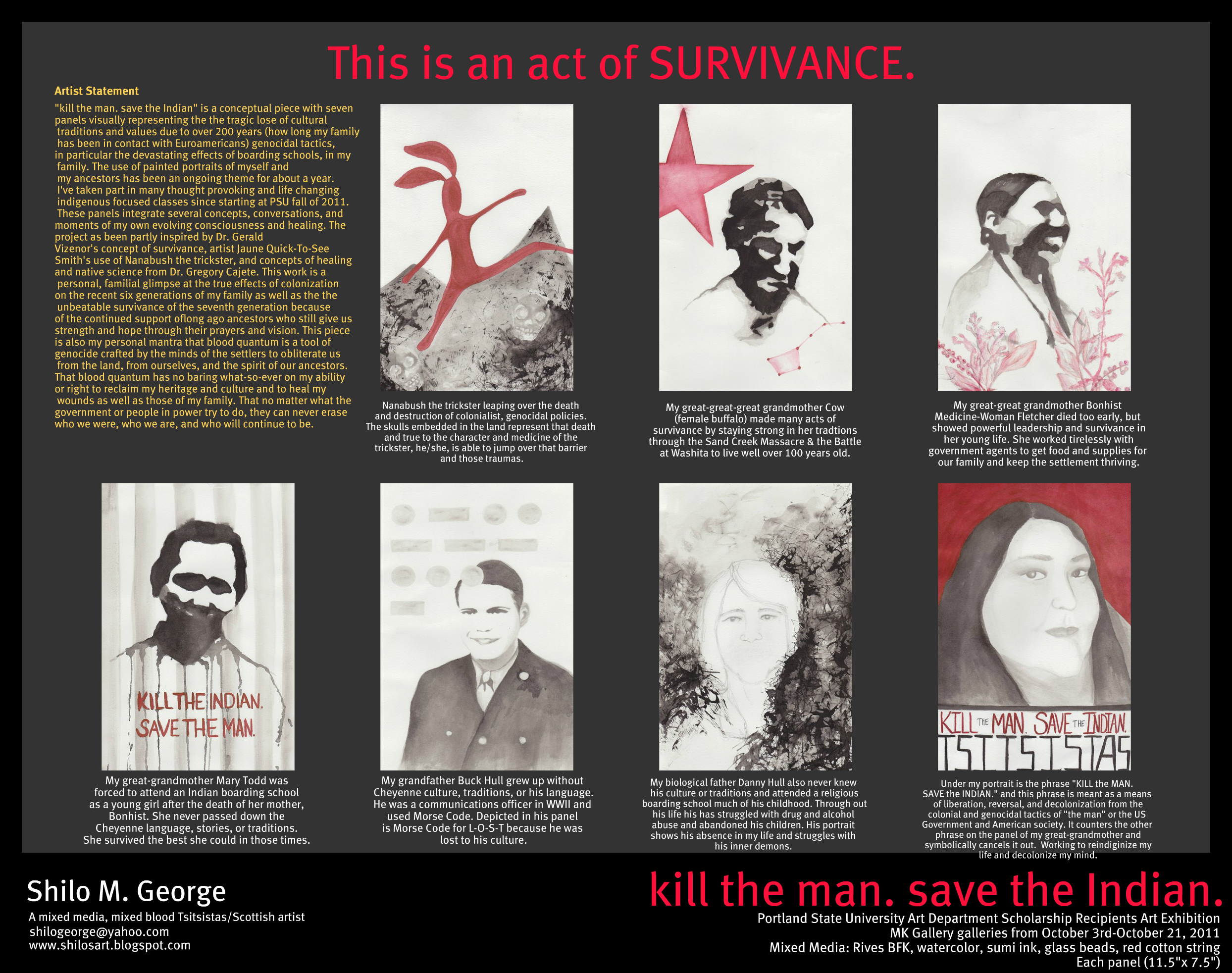 "A panel of George's ""This is an act of Survivance."""