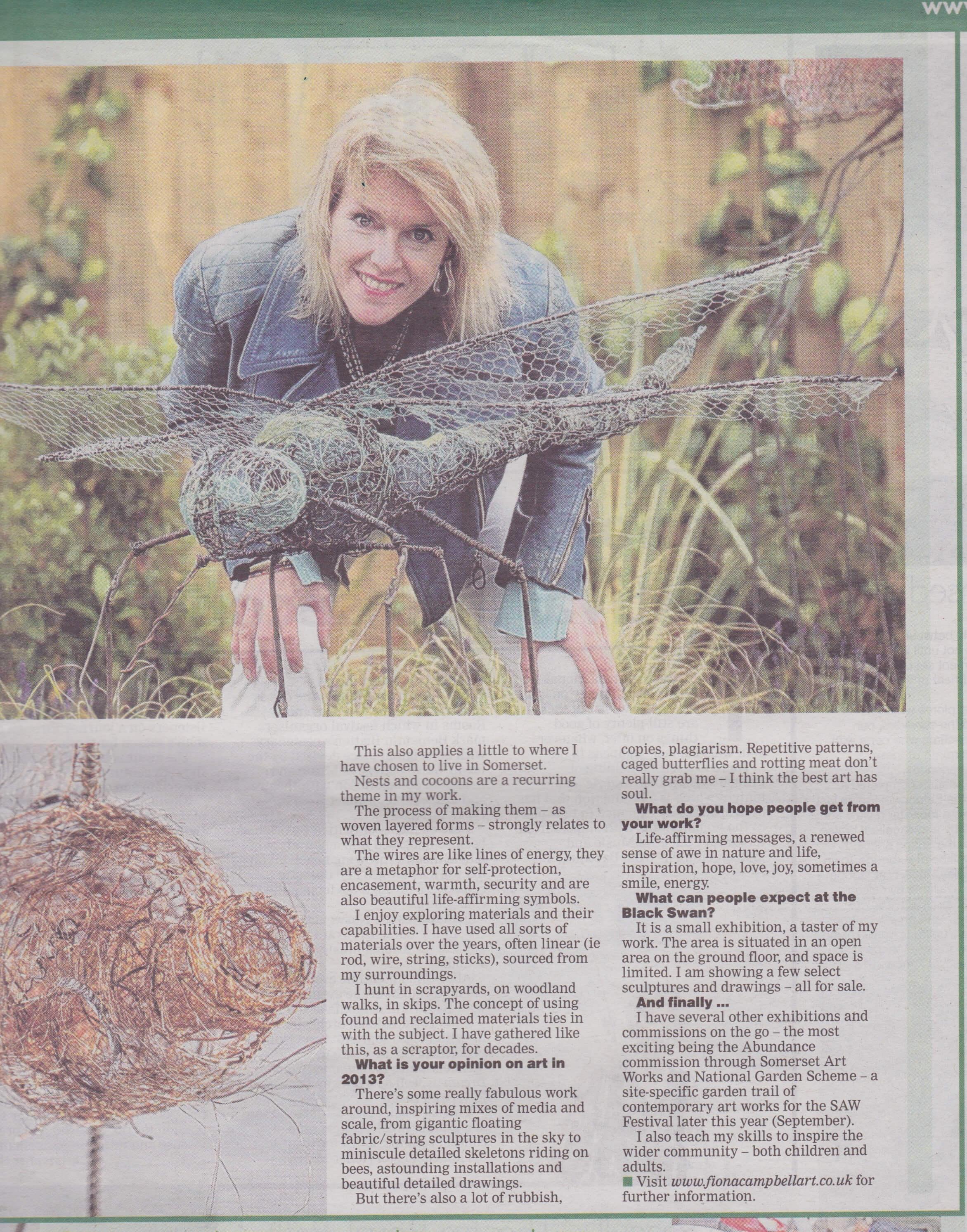 Artist on a Plinth article - Somerset Standard 2