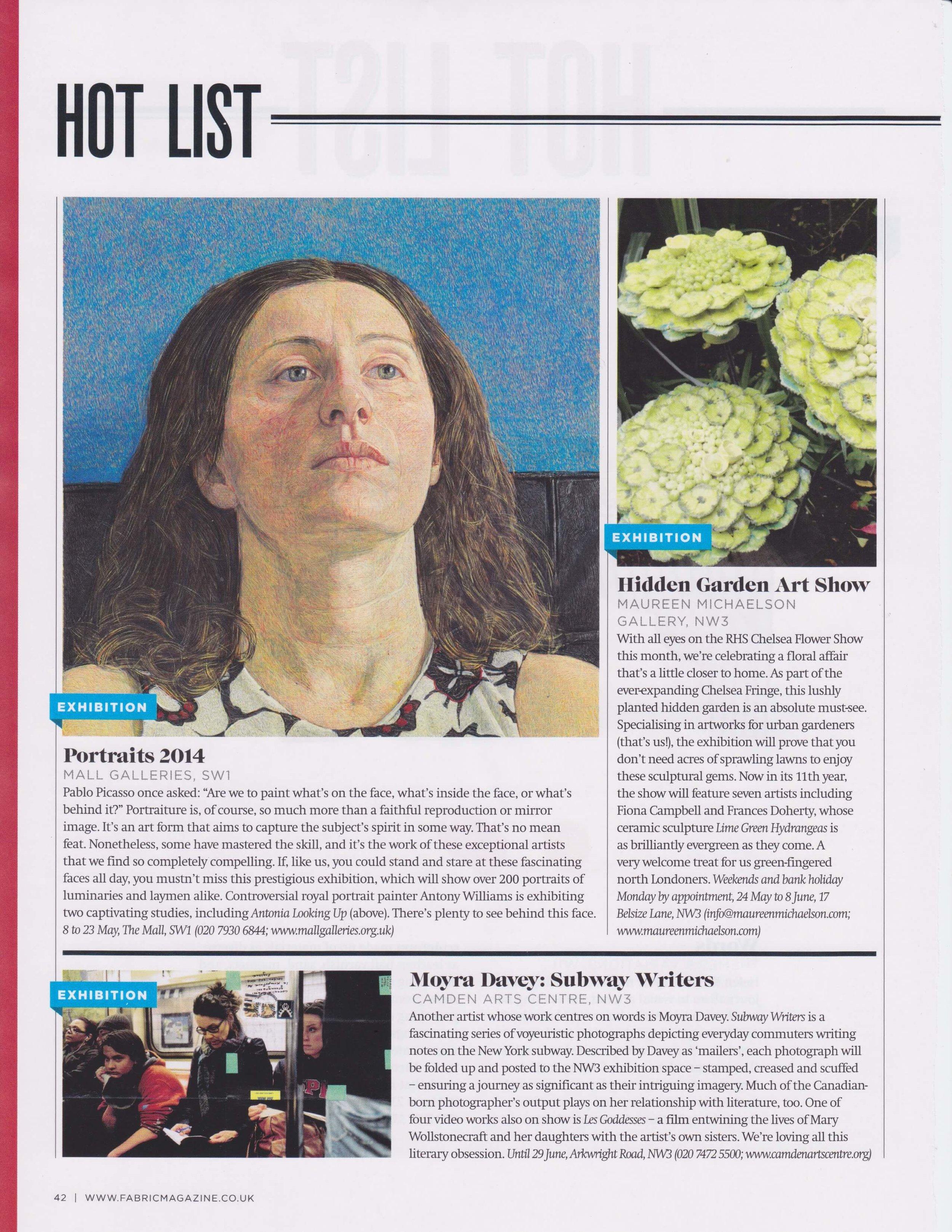HiddenGarden Show, Fabric magazine May '14 issue