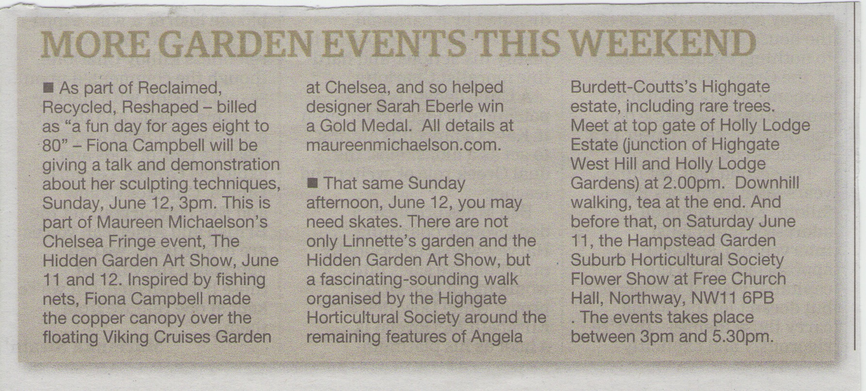 Ham & High - Garden Events