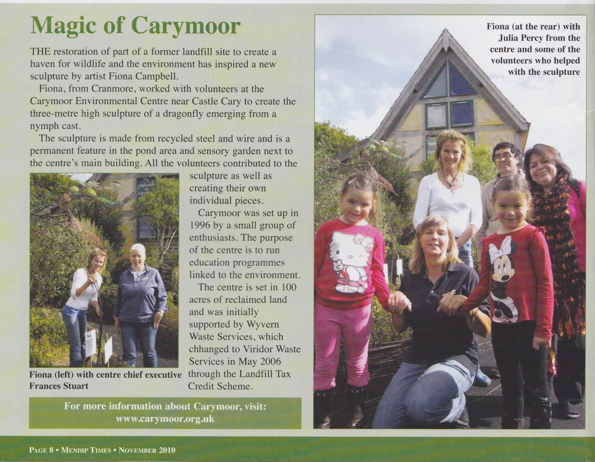 Mendip Times - Carymoor Environmental Sculpture Project