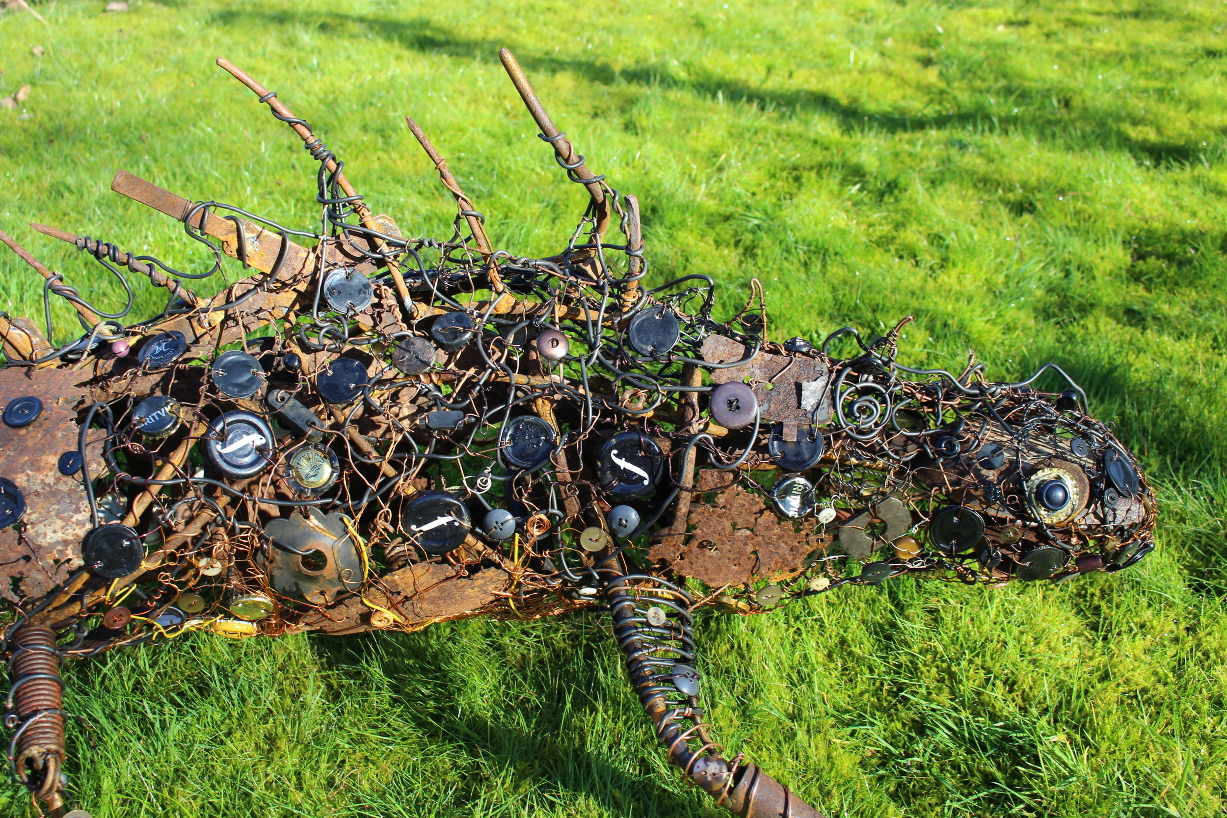 Great Crested Newt (detail) 168x90x46cms, recycled materials, Carymoor '19.jpg