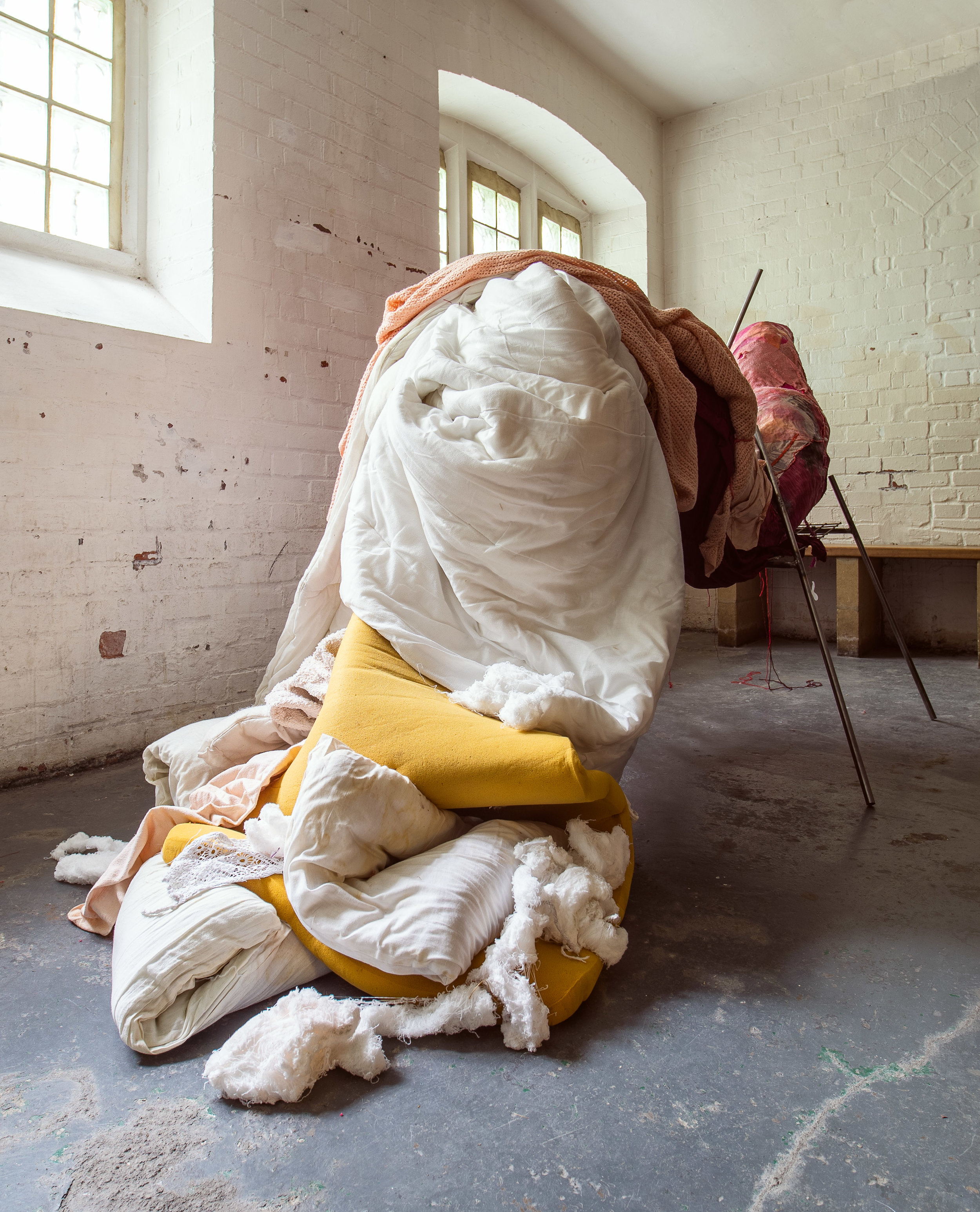 Tongue, 2019,    330cms (l) x 158cms (h) x 135cms (w)   Recycled and found materials: fabric, old clothes died with avocado pits, foam, sponge, copper wire, steel, wax, twine, blankets, duvets, pillows, cushion, towels, wool, leather, plastic, rubber, thread    Photos by Tchad Findlay
