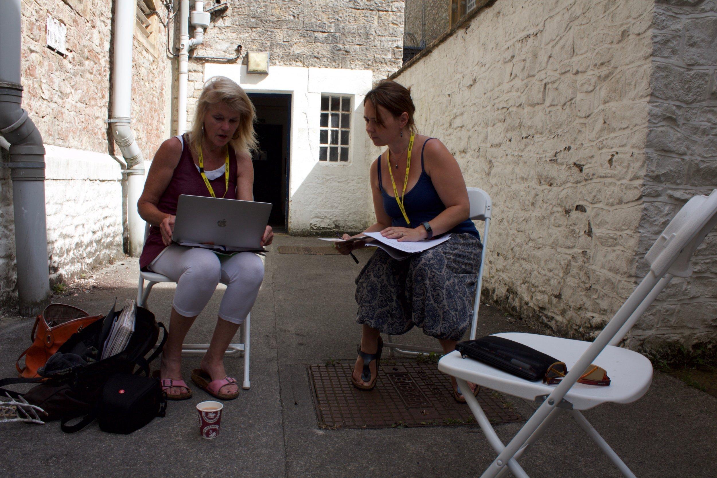 Curators Fiona Campbell (left) and Luminara Star (right) - planning meeting. Photo by Jason King.jpeg