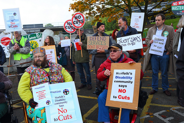 Disabled people protesting outside Norfolk County Hall