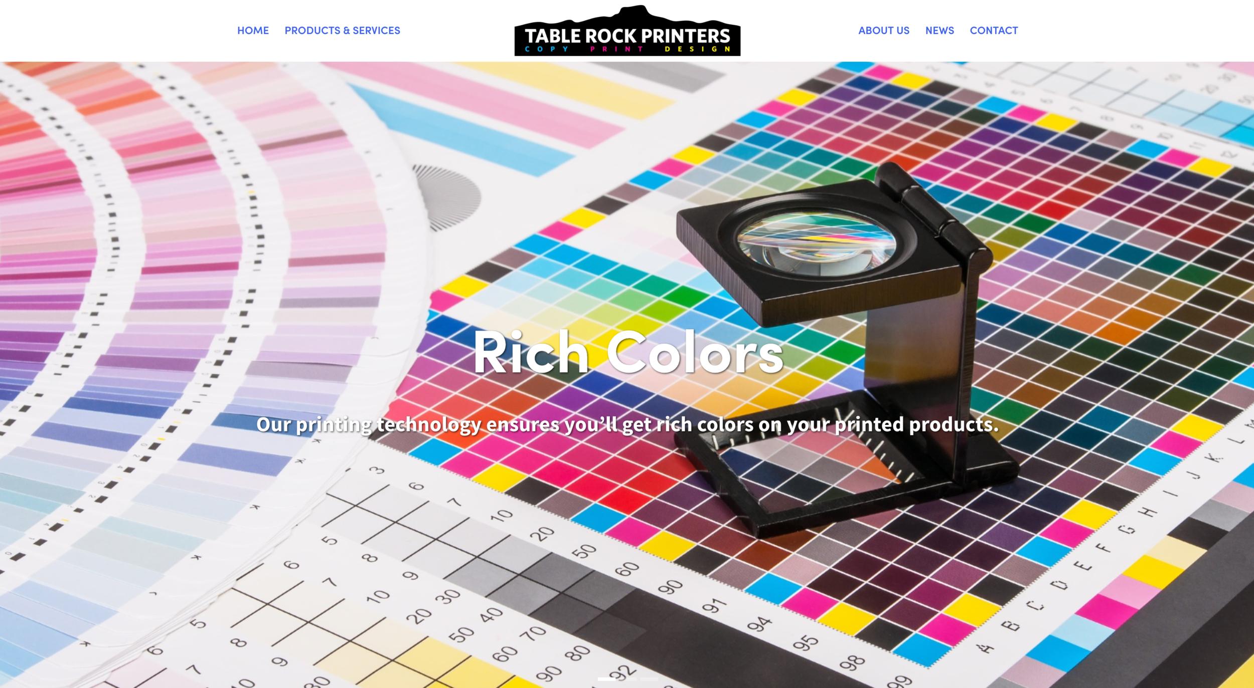 Table Rock Printers new website homepage.