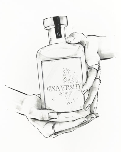 Hands holding gin bottle illustration