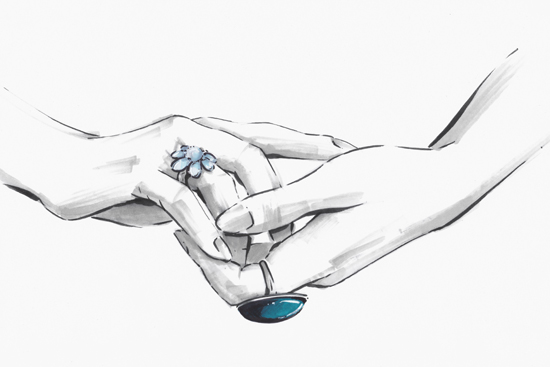 Hands with blue rings illustration