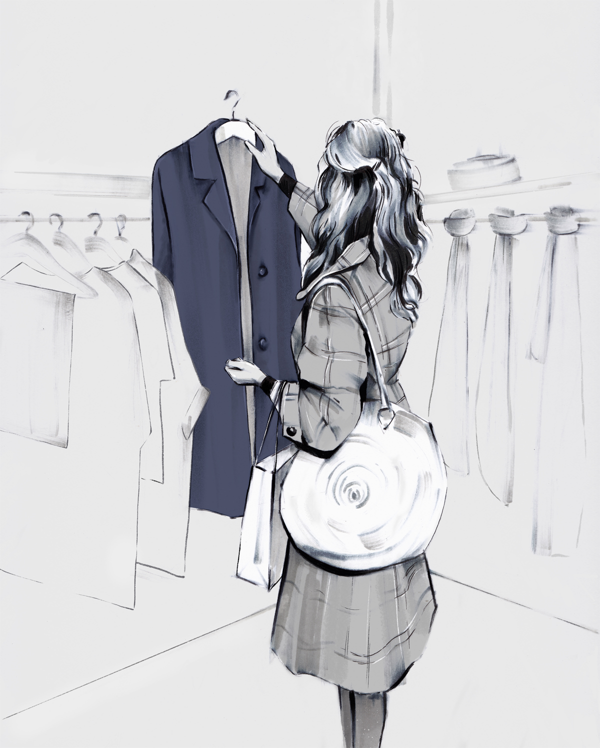 Girl shopping for a new coat illustration by Laura Hope
