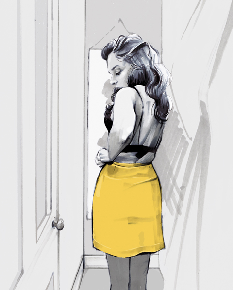 Girl in changing rooms trying on new clothes illustration by Laura Hope