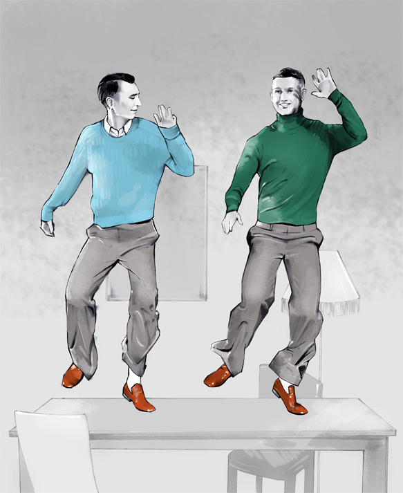 Gucci Showtime Illustration - Men tap dancing on tables