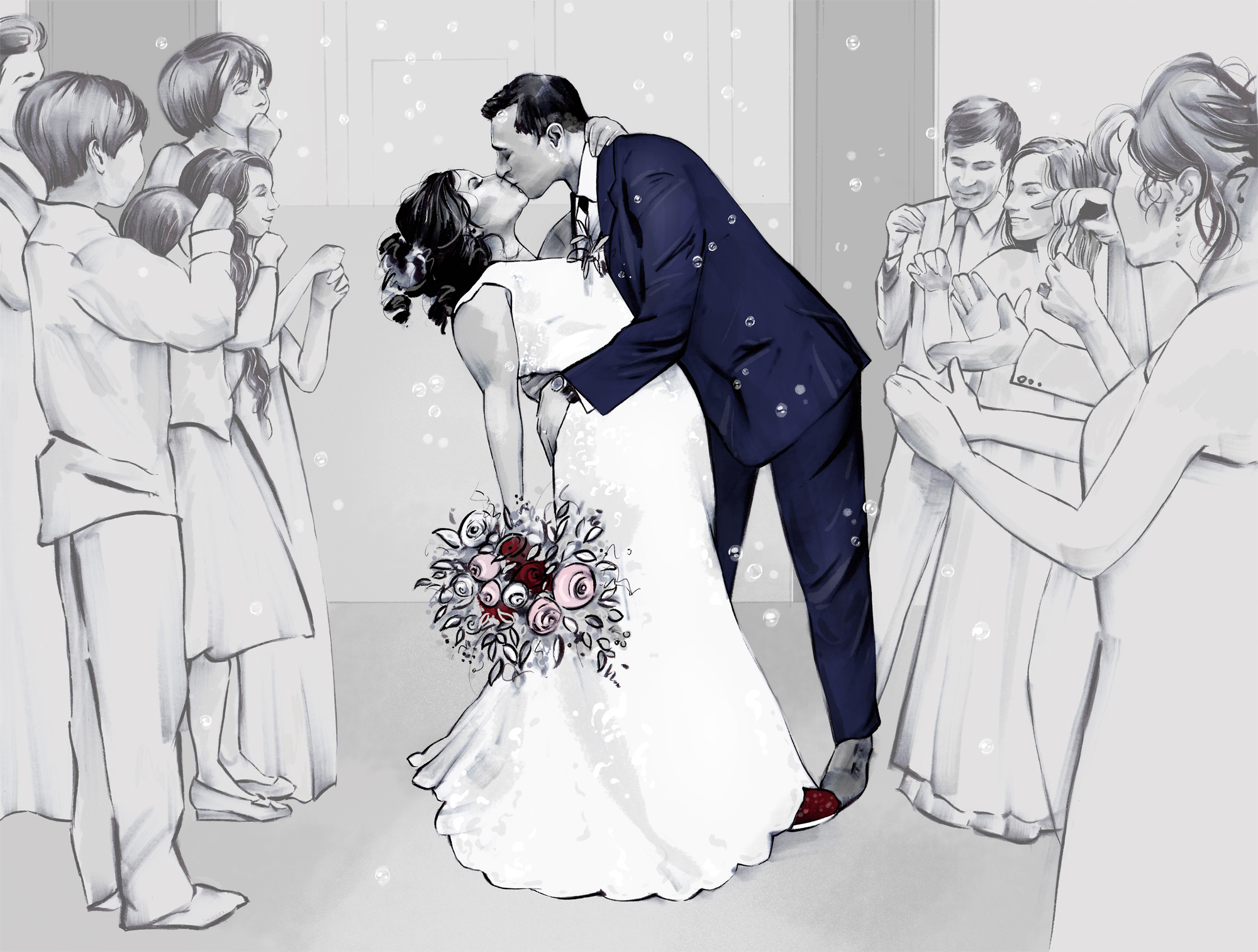 Wedding Illustration with couple kissing by Laura Hope