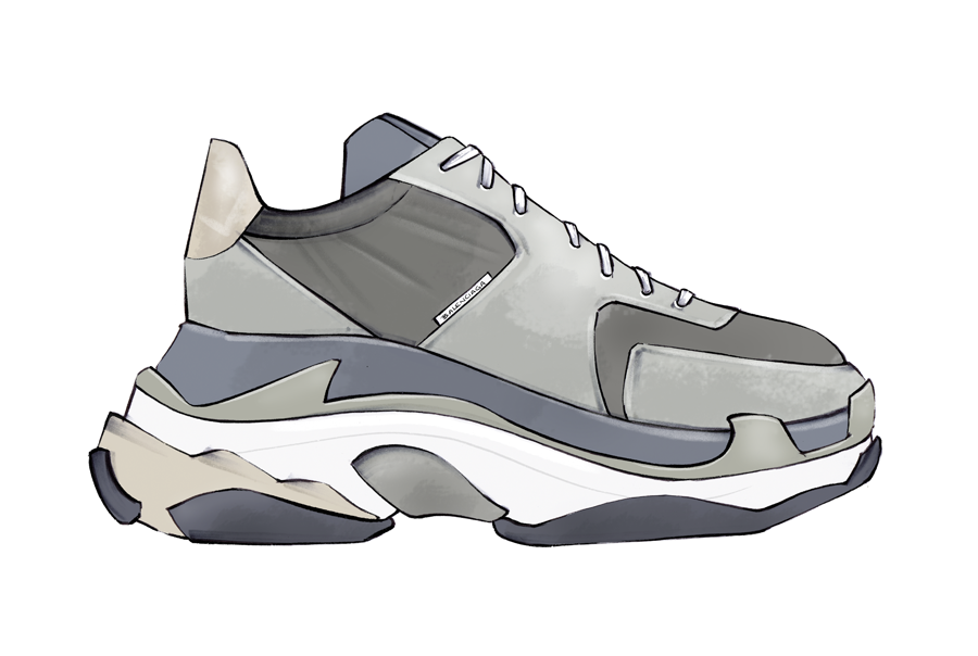 Illustration of Balenciaga Trainers.