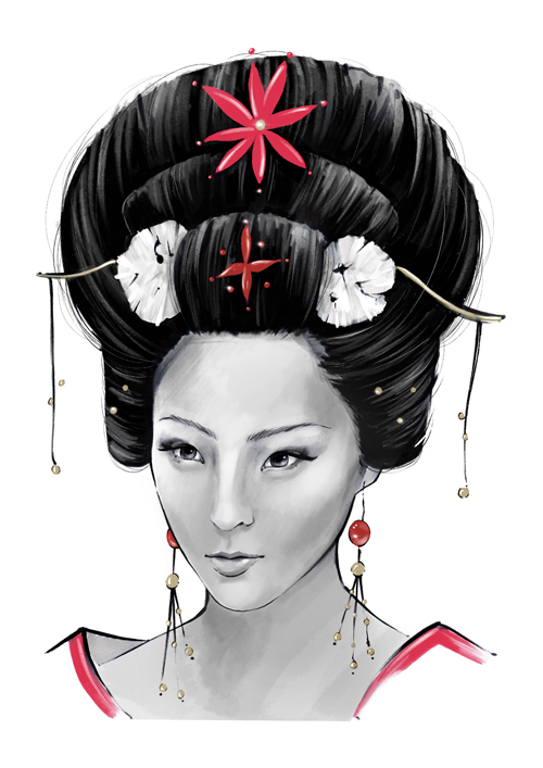 Chinese woman portrait illustration